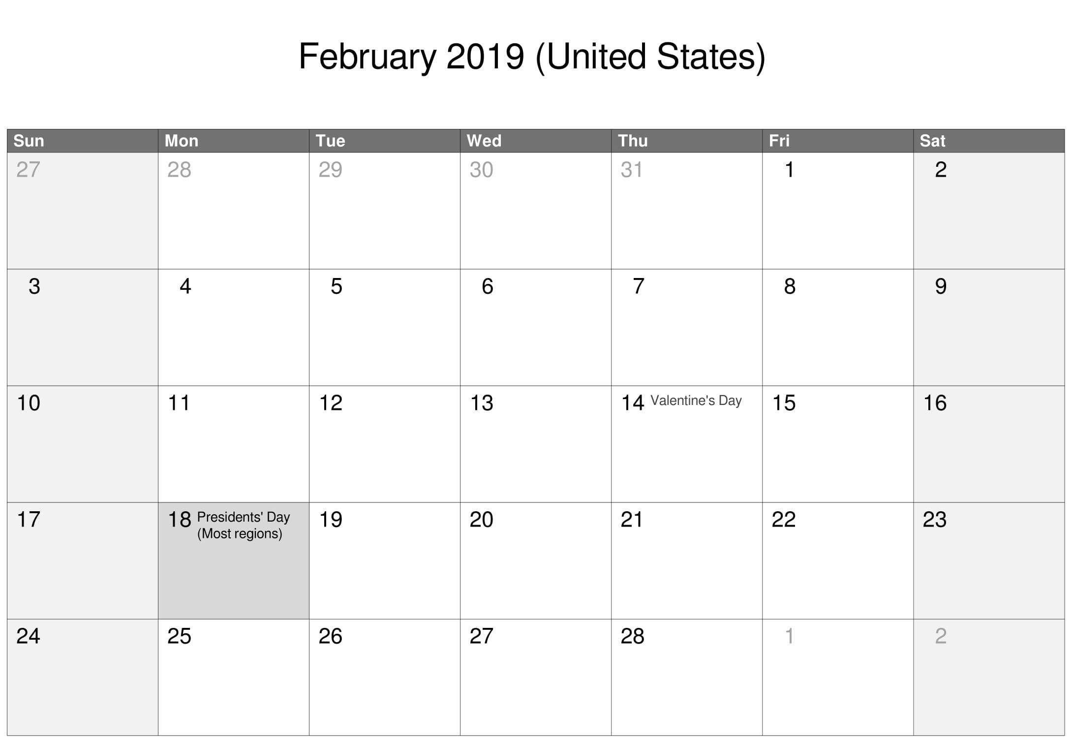 February 2019 Calendar Us With Holidays Printable Calendar Templates