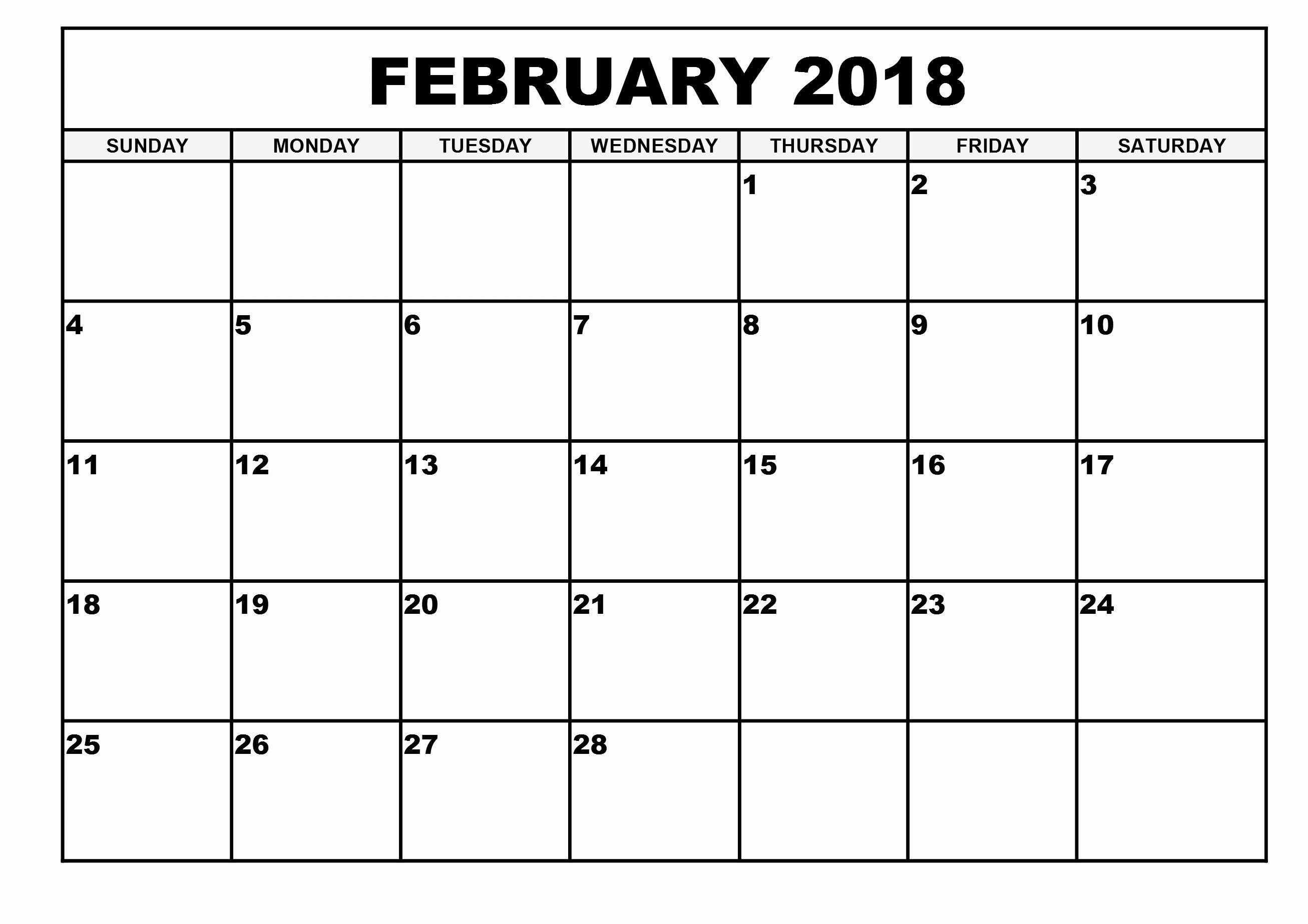 Print February 2019 Calendar USA