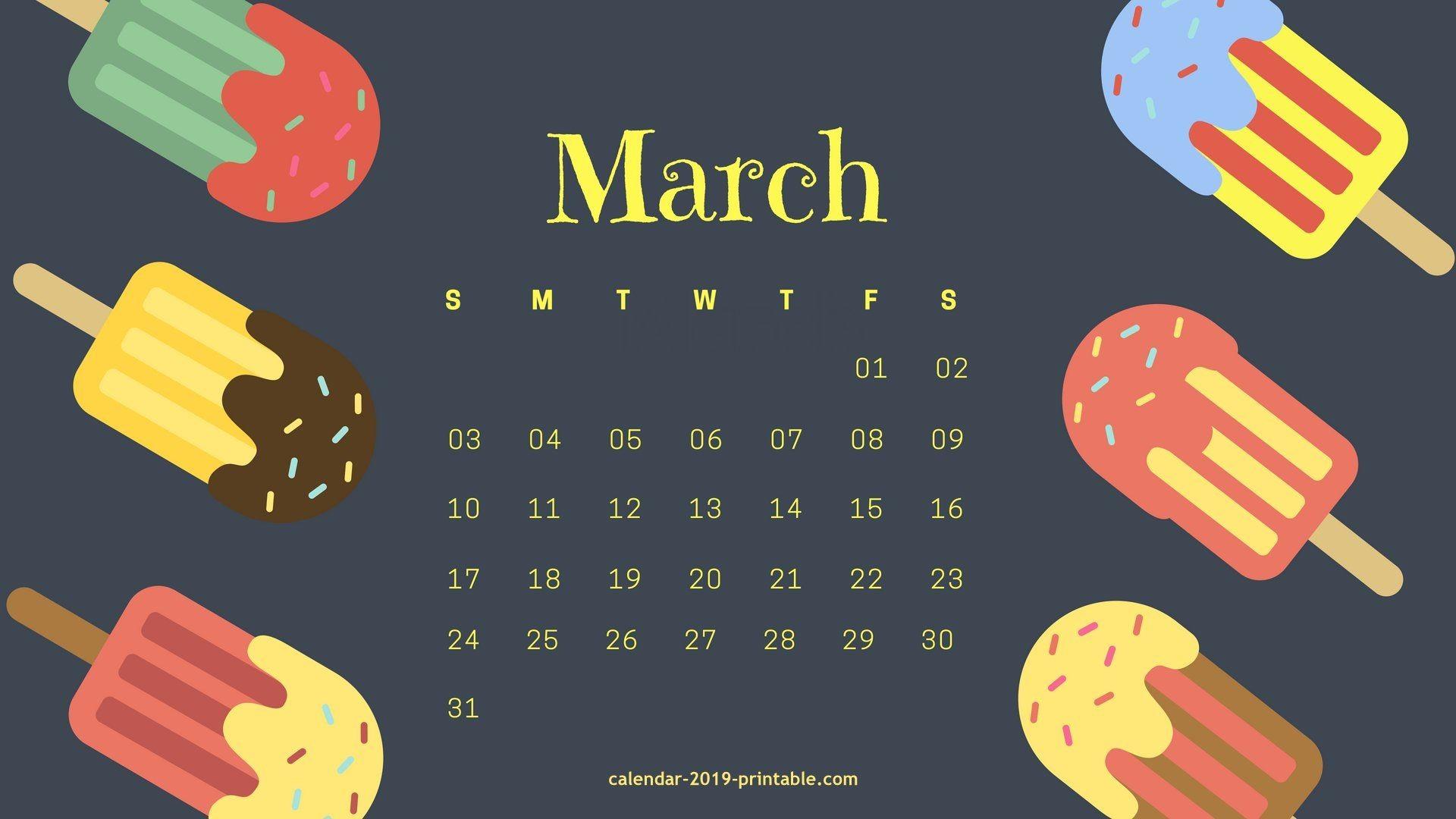 march 2019 desktop background calendar