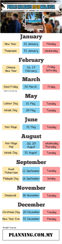 August Holiday Calendar Public Holidays In Malaysia 2018