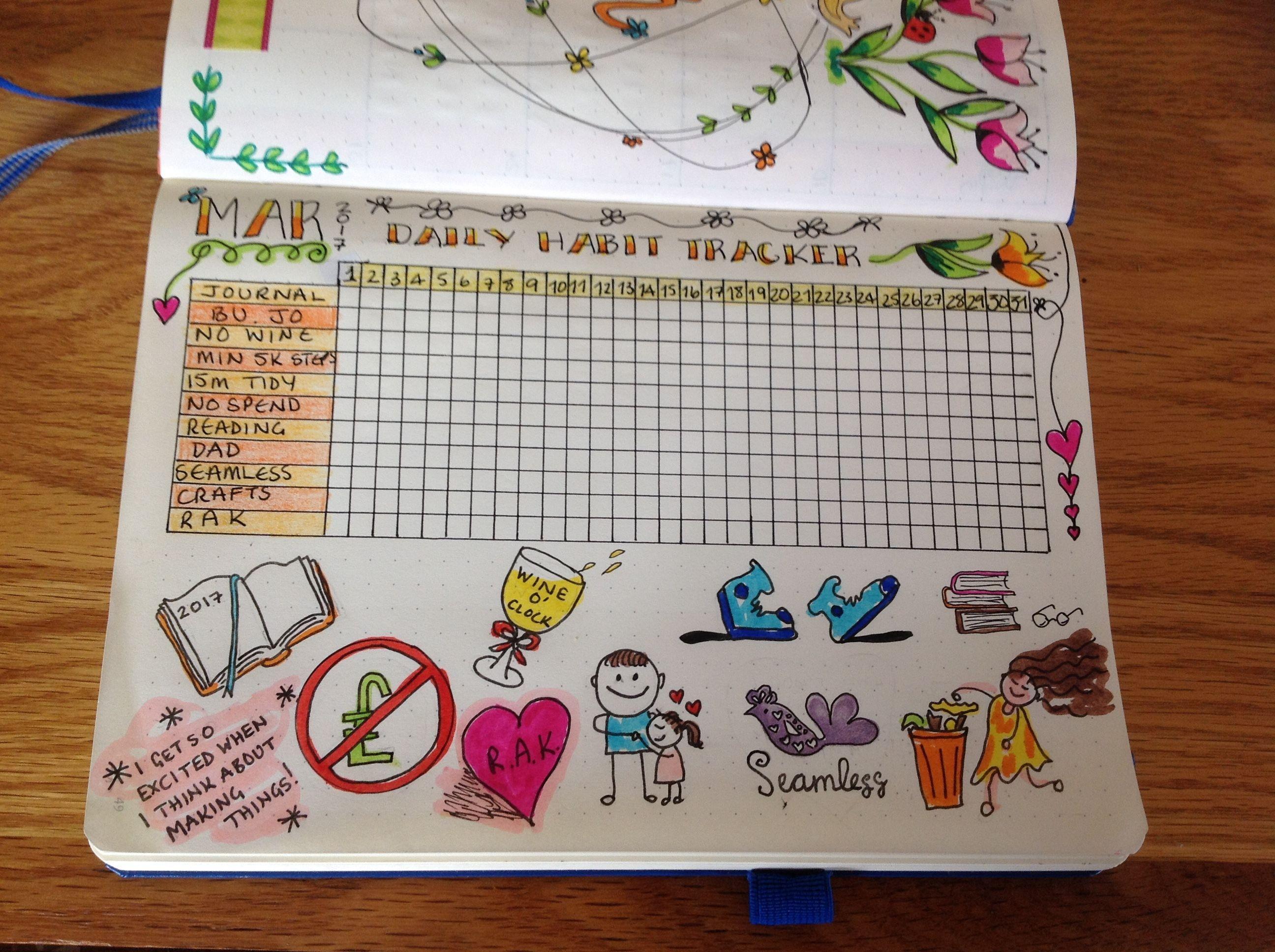 My March habit tracker plete with doodles 😊 Bullet Journal Journaling Doodles Caro
