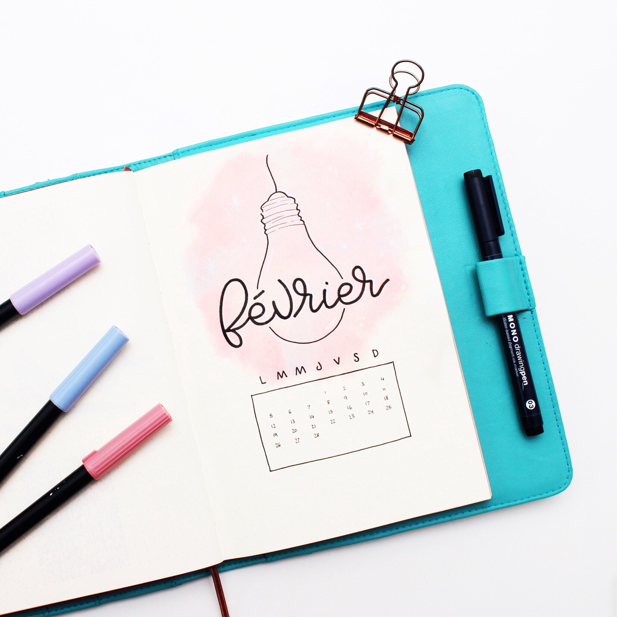 """Plan with me February in my bullet journal """"watercolor effect"""" tutorial"""