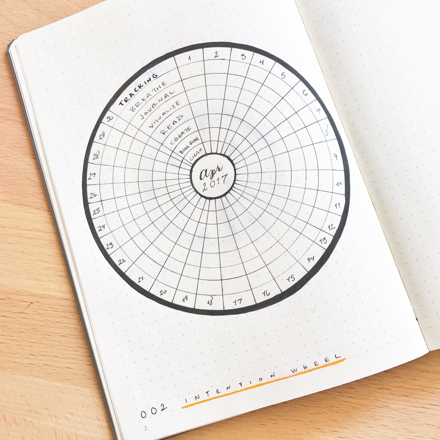 The Intention Wheel A new kind of tracker for your Bullet Journal — Tiny Ray of Sunshine