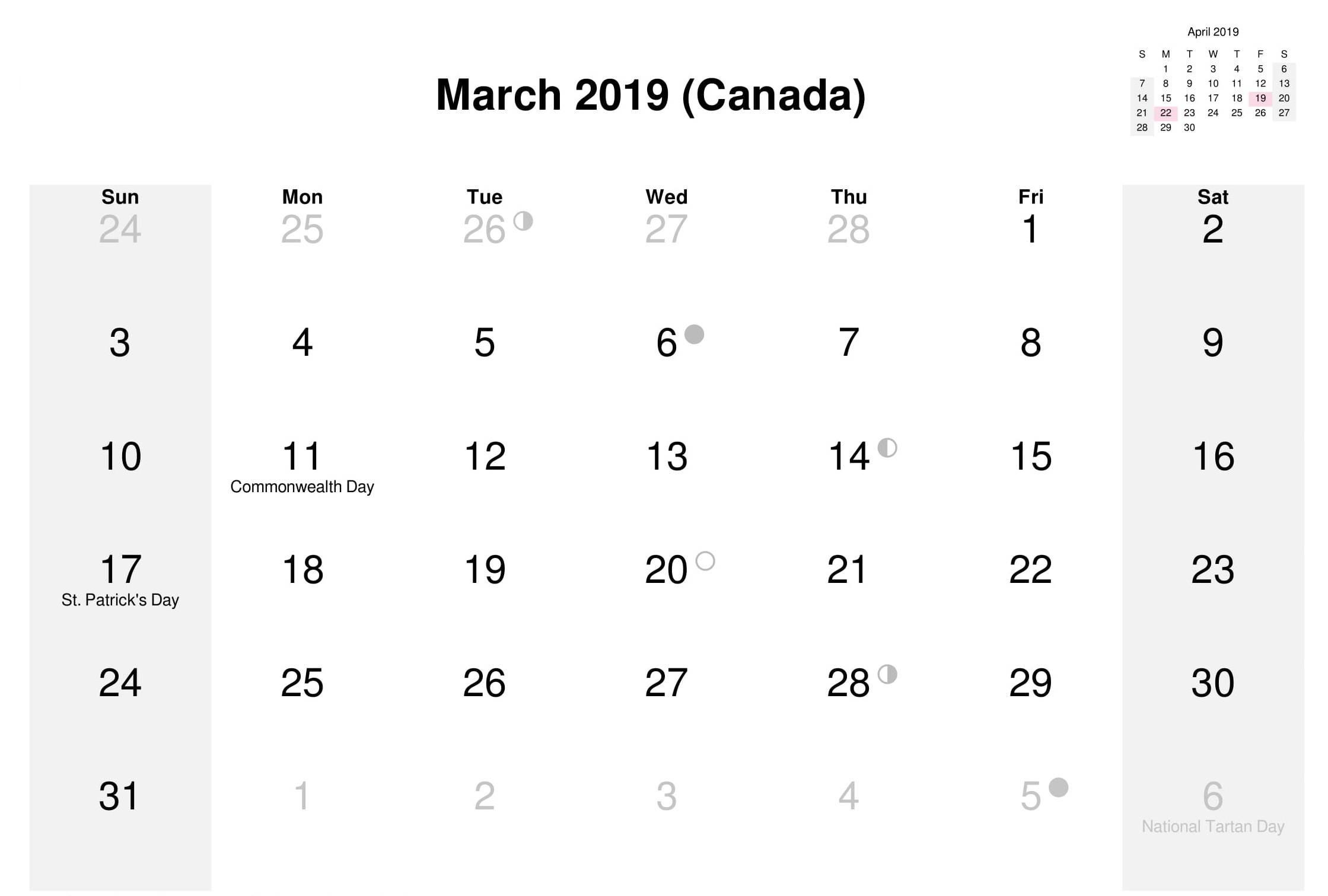 Calendar for March 2019 Canada