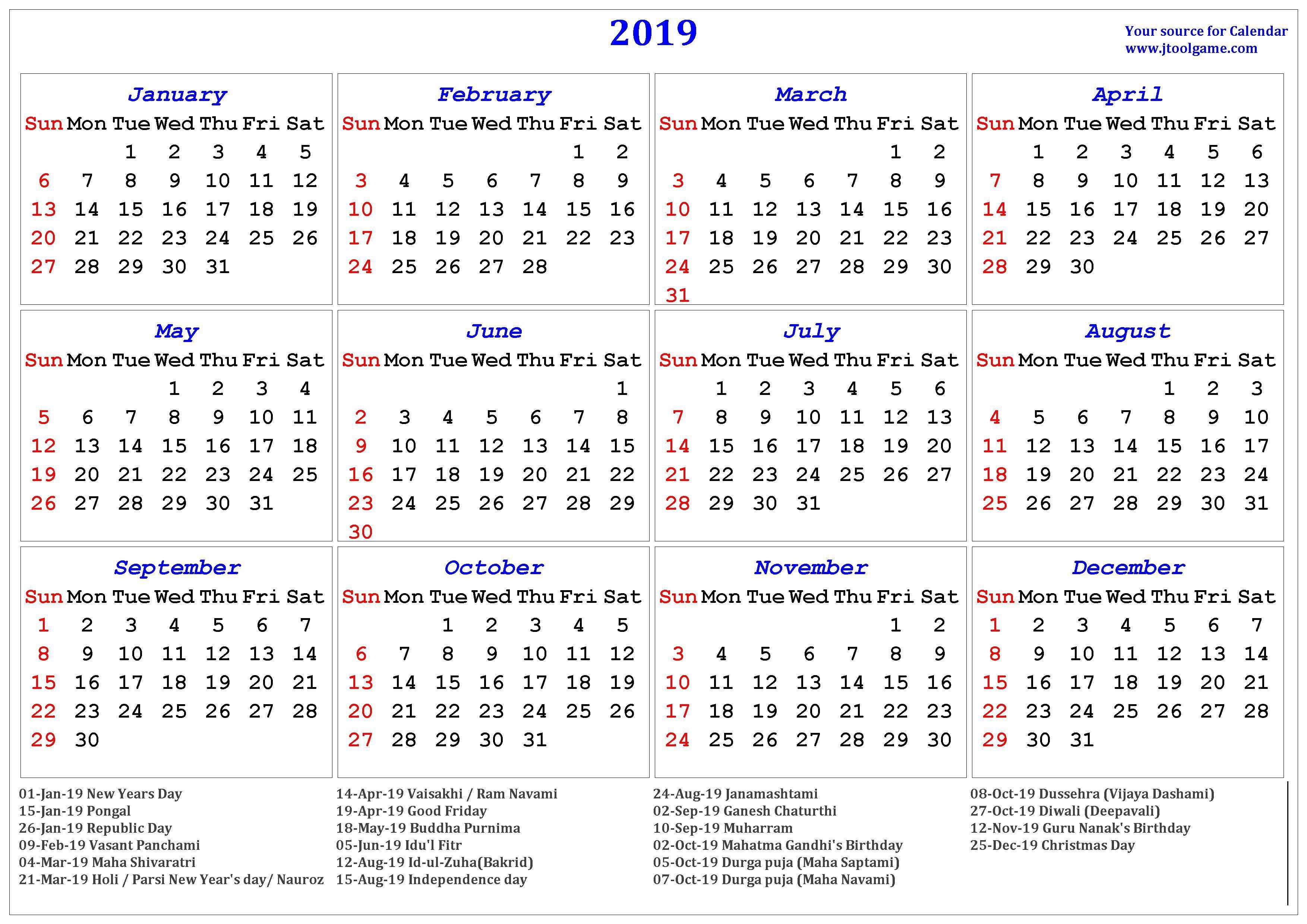 2019 Hindu Calendar 2019 Hindu Calendar Holidays Hindu Calendar 2019 Indian Printable Calendar