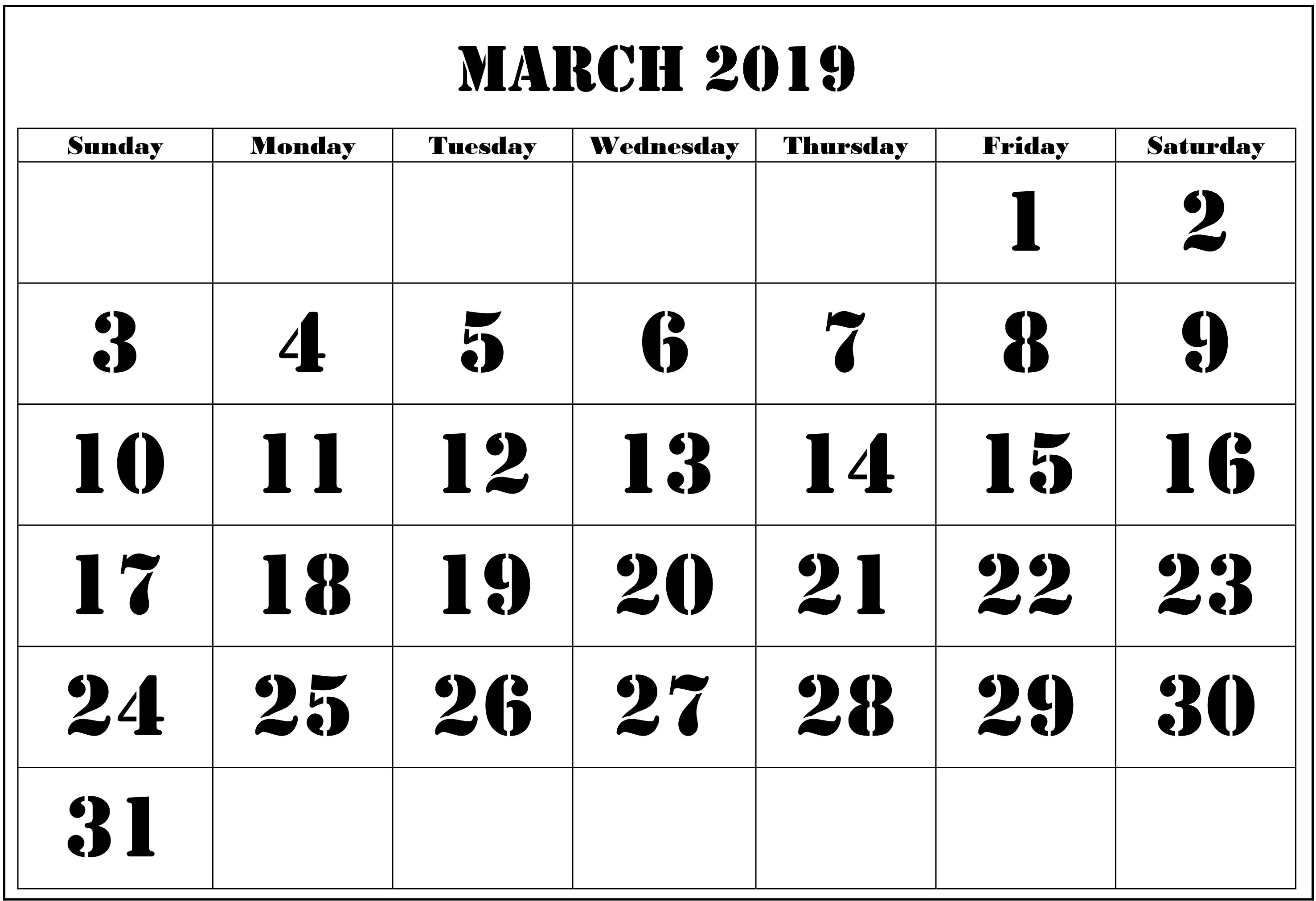 March 2019 Holiday Calendar