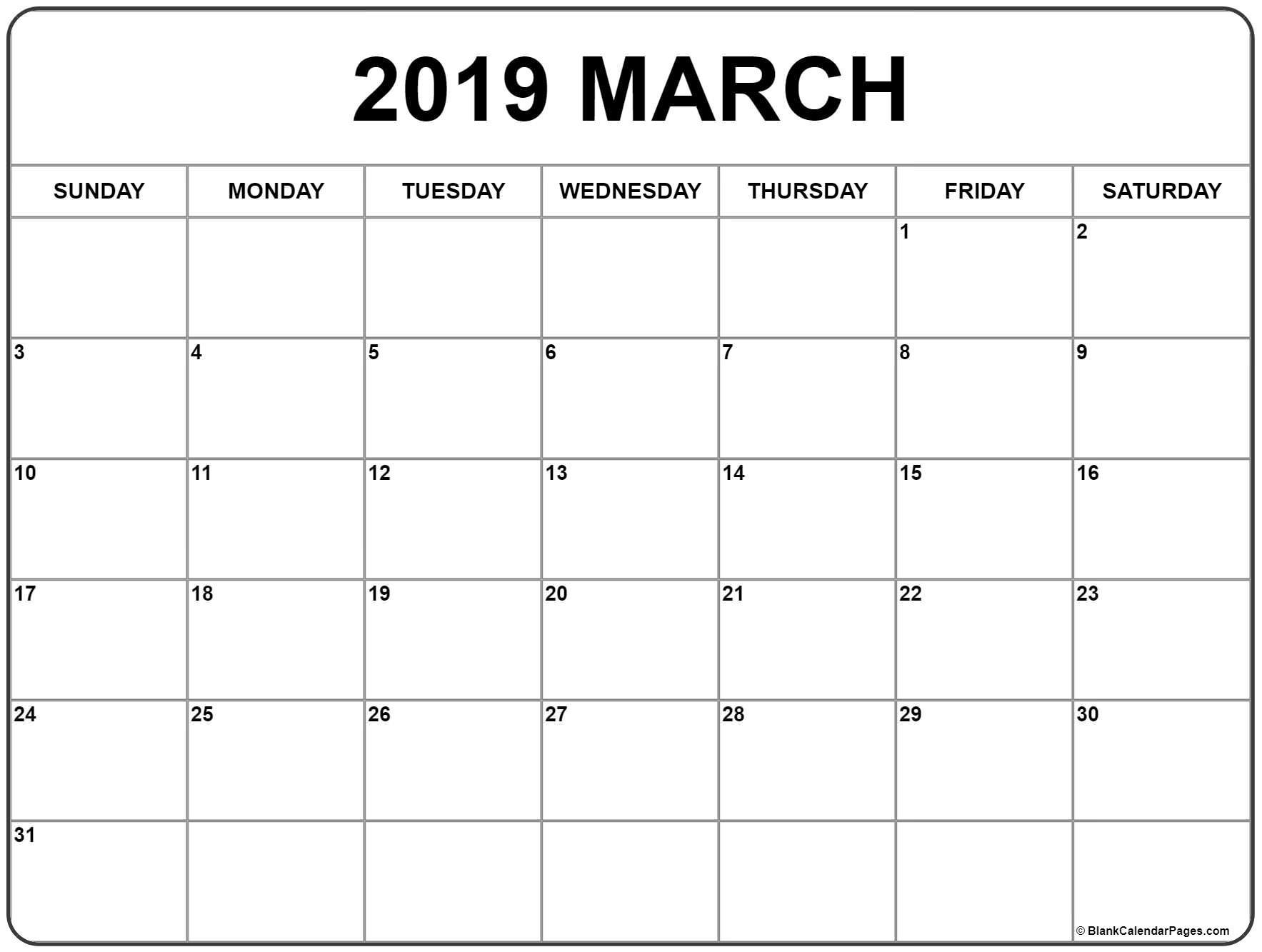 March 2019 calendar March calendar 2019