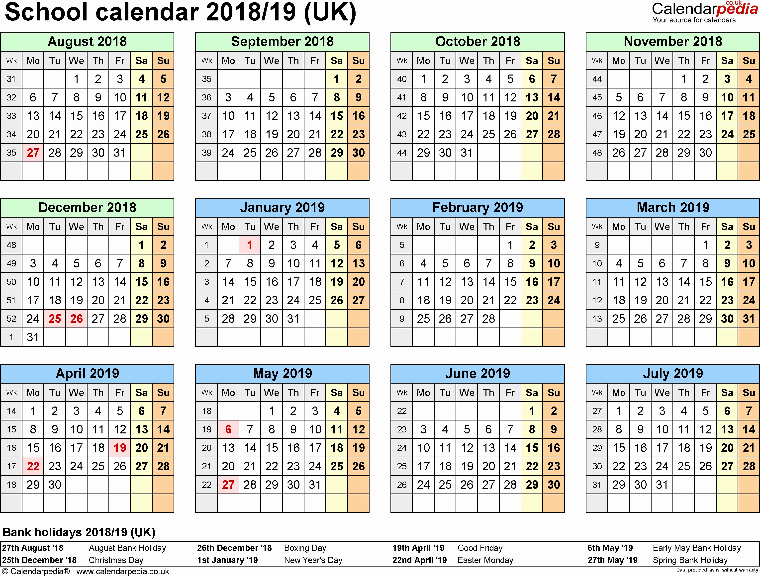 Printable Calendar for 2018 2019 March 2019 Calendar with Holidays Uk Monthly Printable