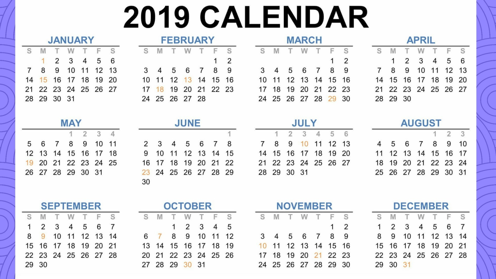 Calendar 2019 School Holiday Malaysia With Holidays Download Blank