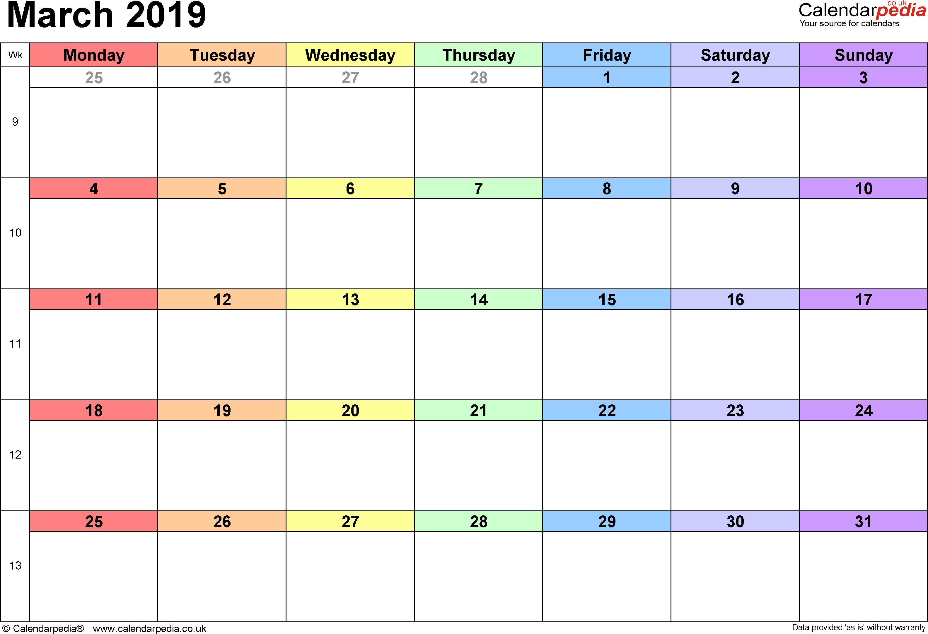 Calendar March 2019 landscape orientation 1 page with UK bank holidays and week