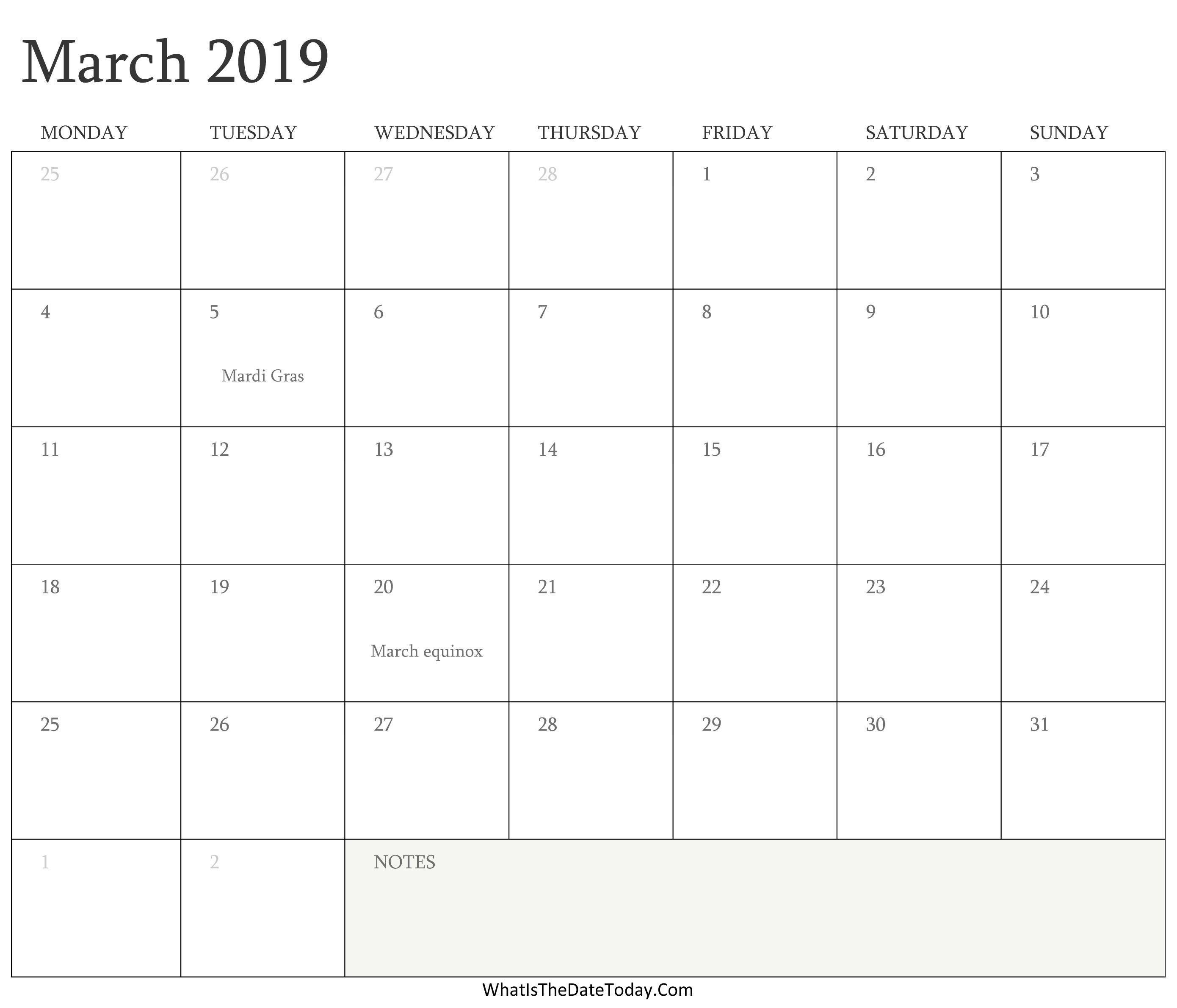 Editable Calendar March 2019 with Holidays