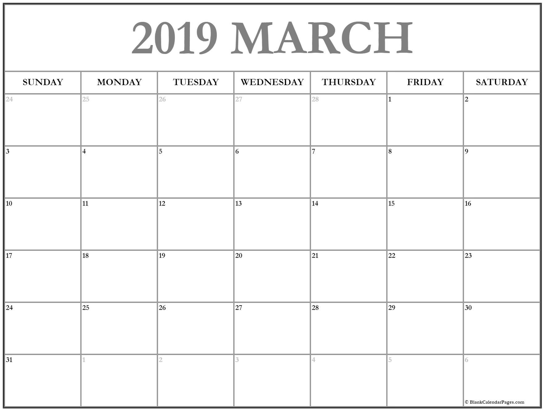 calendar 2019 March March calendar 2019