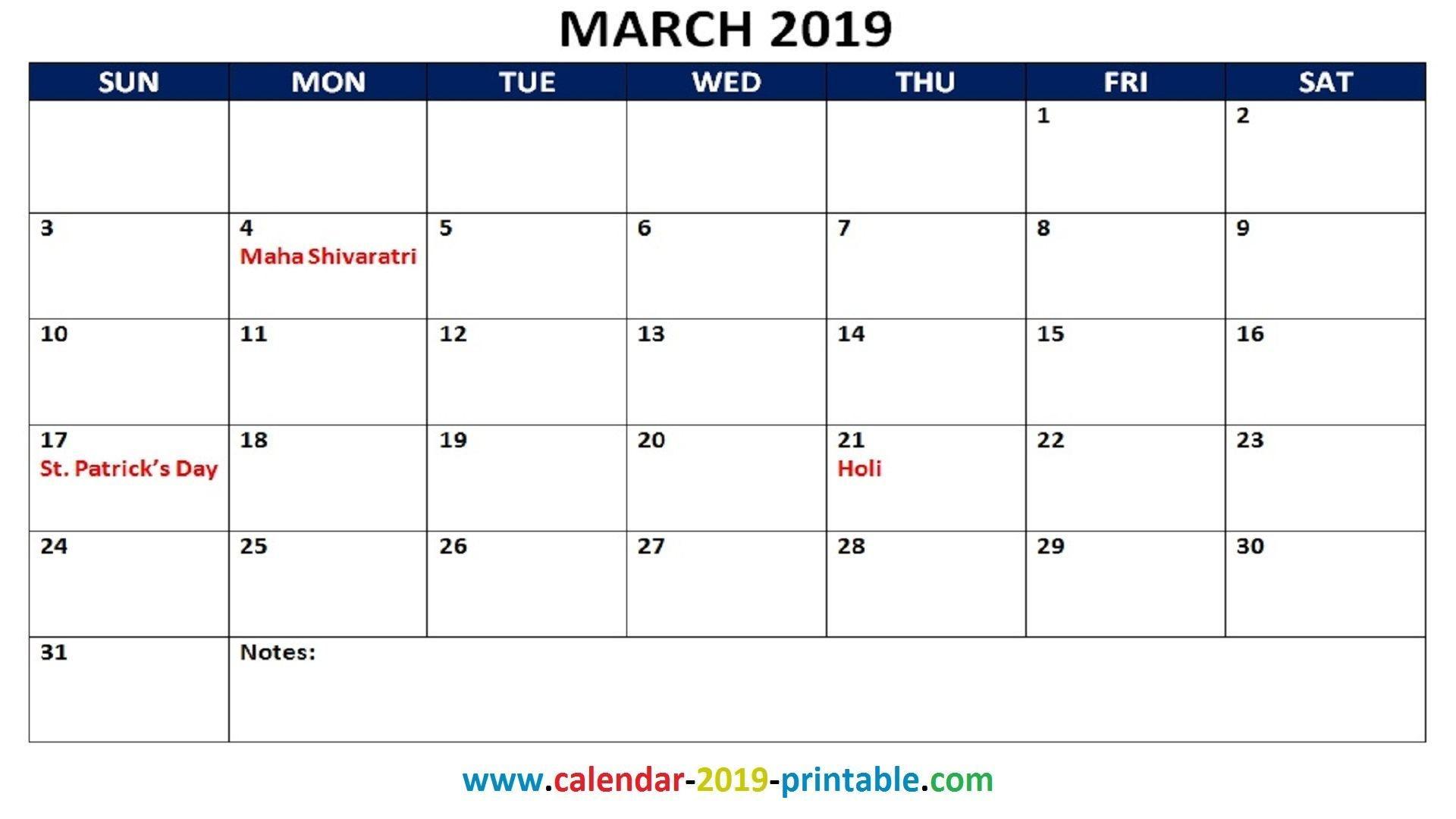 March Holiday Calendar 2019 Mejores Y Más Novedosos March 2019 Calendar Printable with Holidays