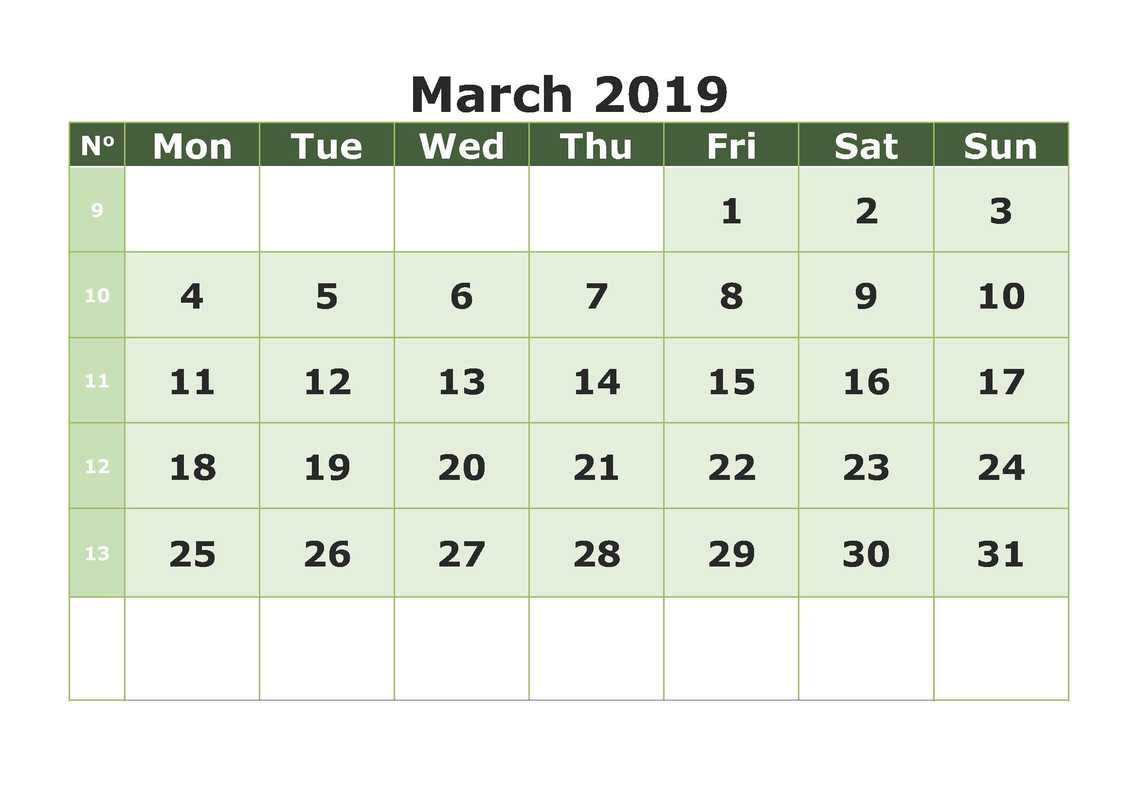 Free Download March 2019 Calendar