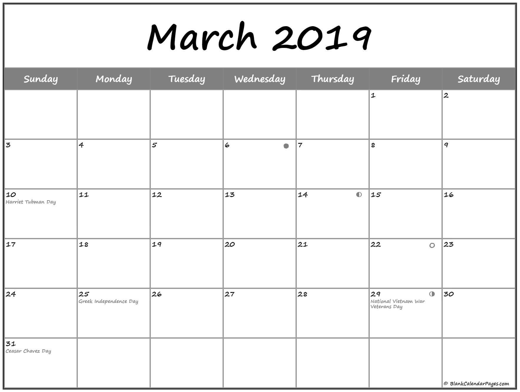 march 2019 lunar calendar moon phase calendar calendar template
