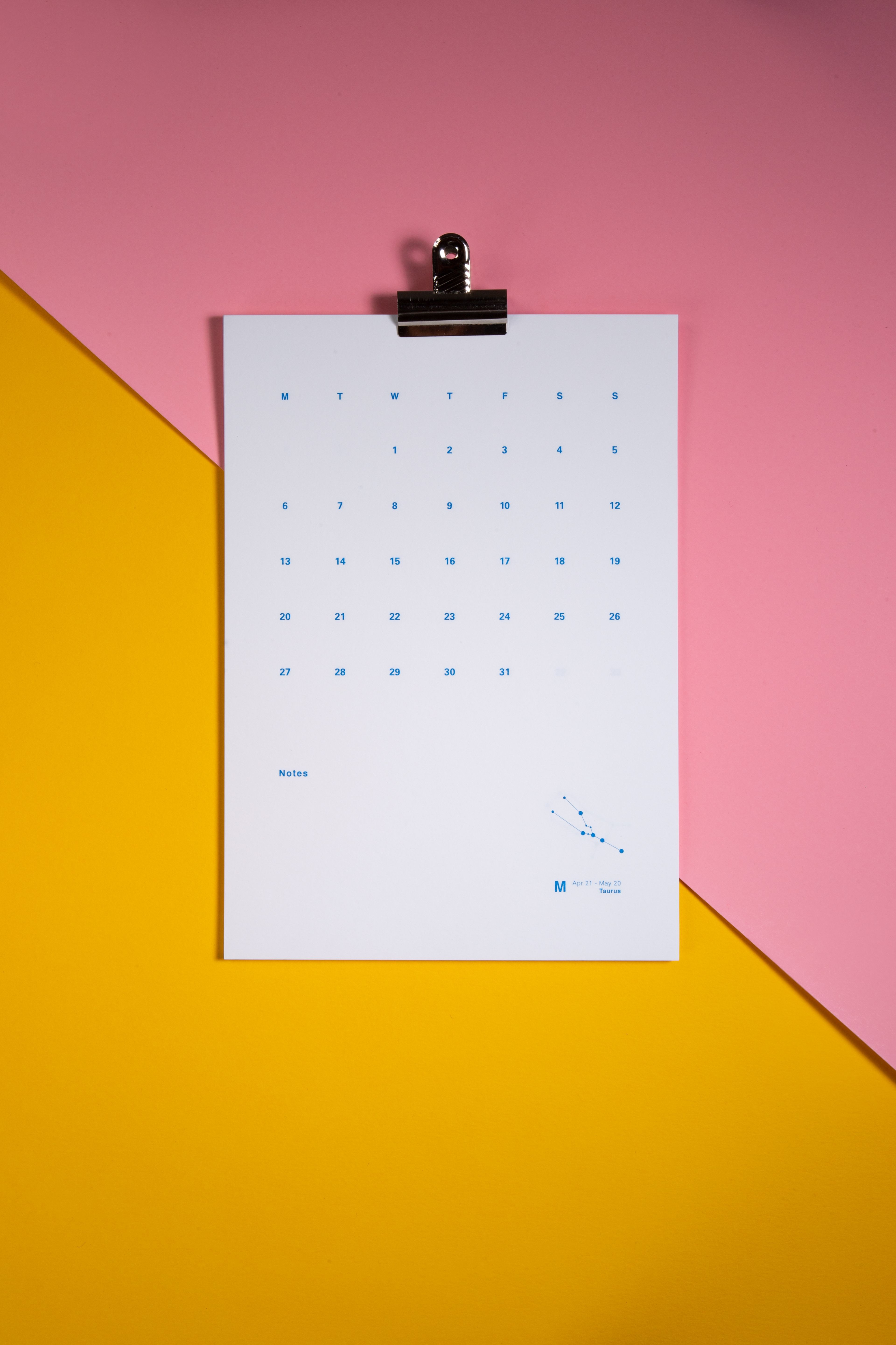 2019 Wall Calendar featuring minimalist modern and design January 2019 to December 2019