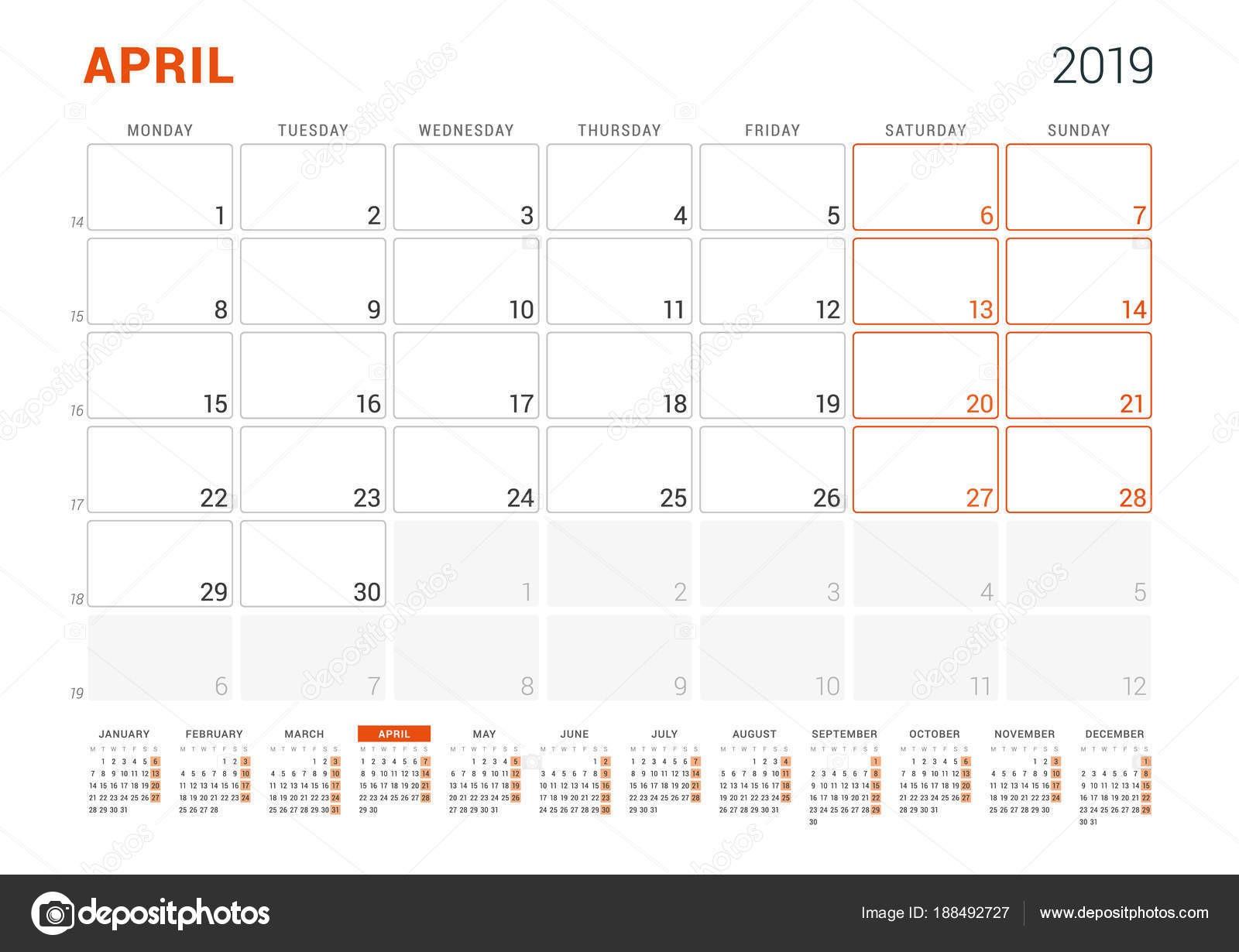 Kwietnia 2019 Planner kalendarz na rok 2019 Wektor szablon wydruku projektu Sarts tydzień w poniedziałek — Wektor od mikhailmorosin