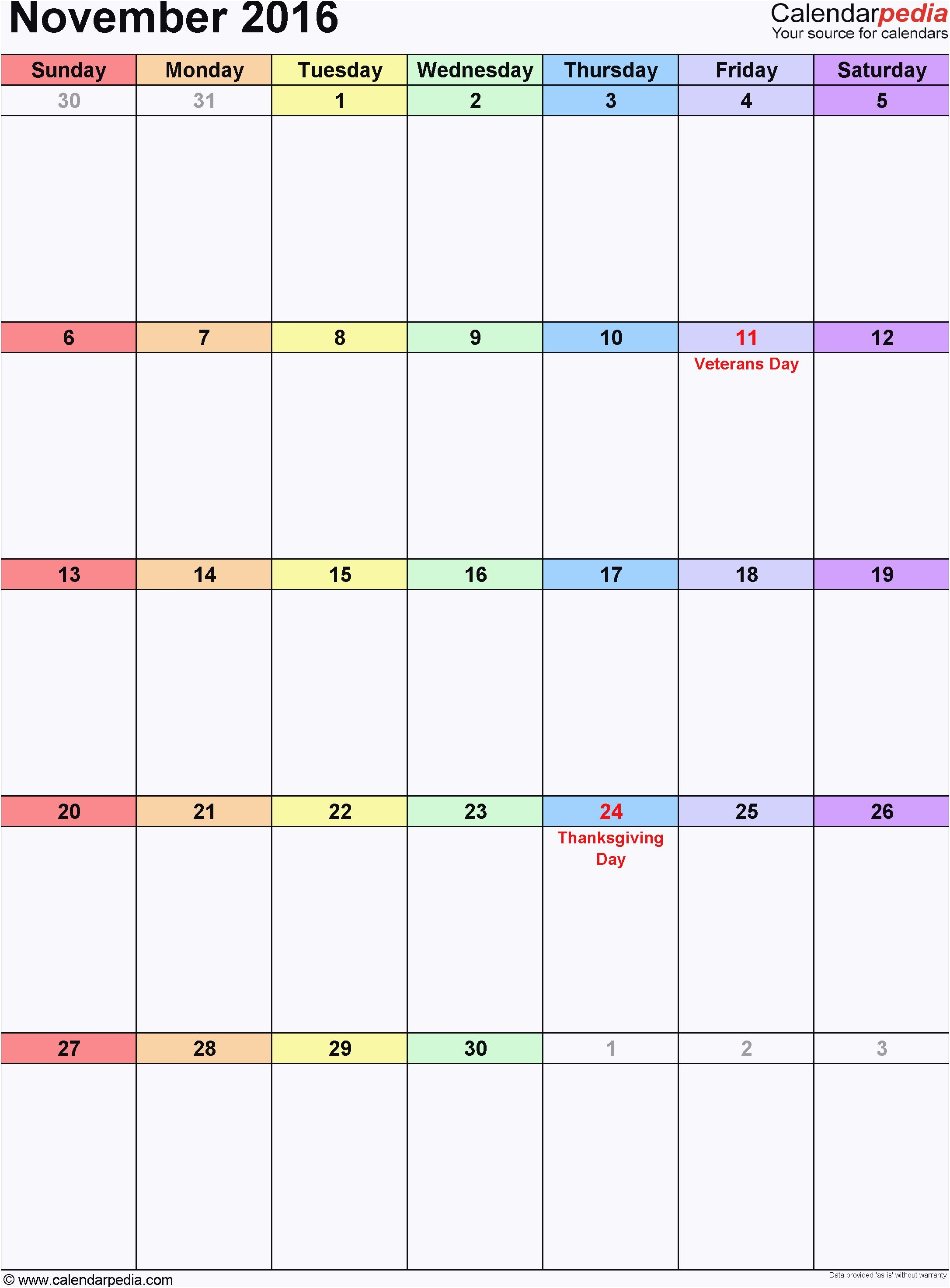 Kalender November 2017 Hochformat als Excel Vorlage