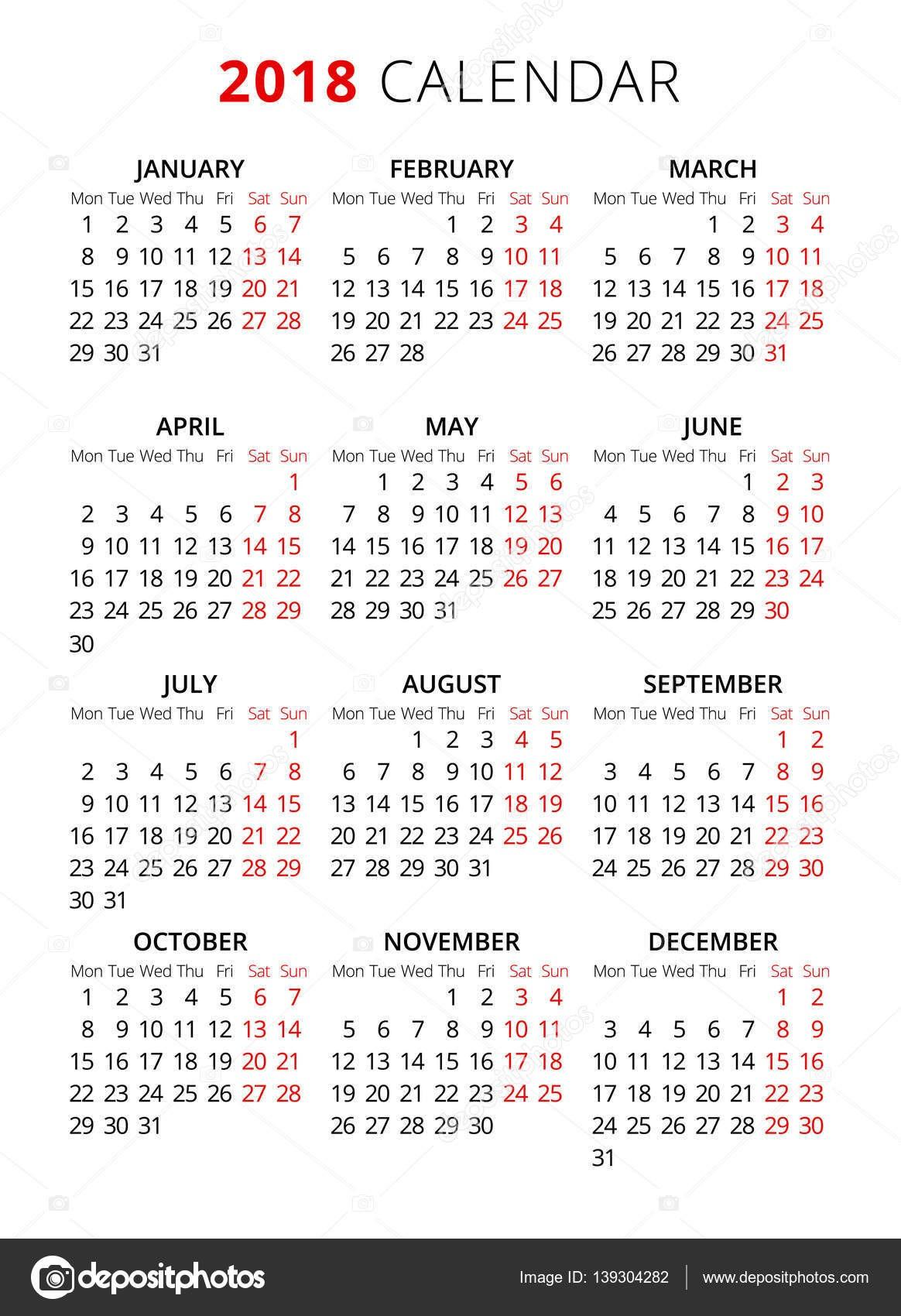 2018 roku prosty styl tekstu kalendarza Tydzień zaczyna się od poniedziałku — Wektor stockowy