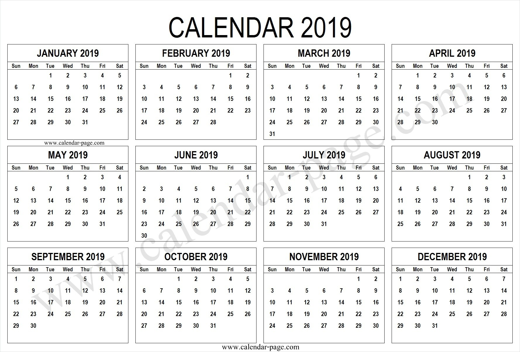 2019 February Calendar Template and 2019 Printable Calendar Pages