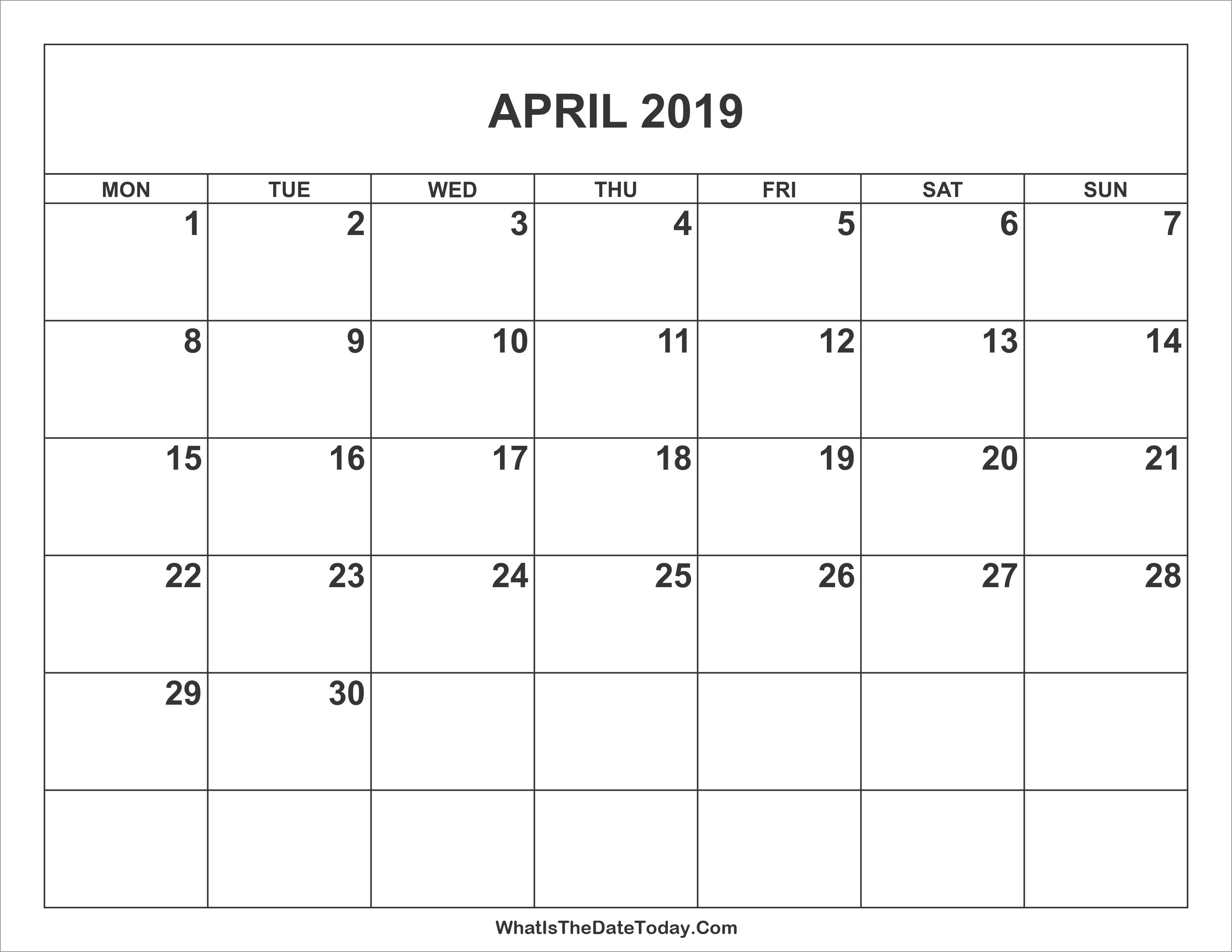 Calendar 2019 February Through April Más Arriba-a-fecha April 2019 Calendar Word April 2019 Calendar