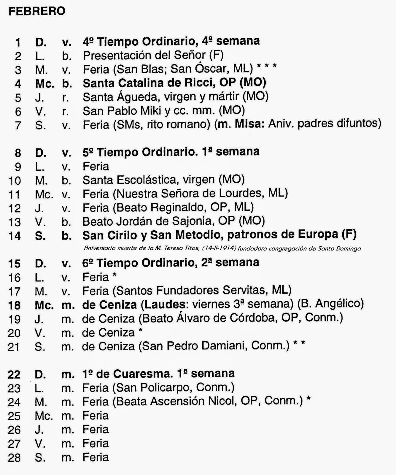 Dise±o Calendario 2018 Santoral Santoral Dominicano Calendario Propio De La Orden De