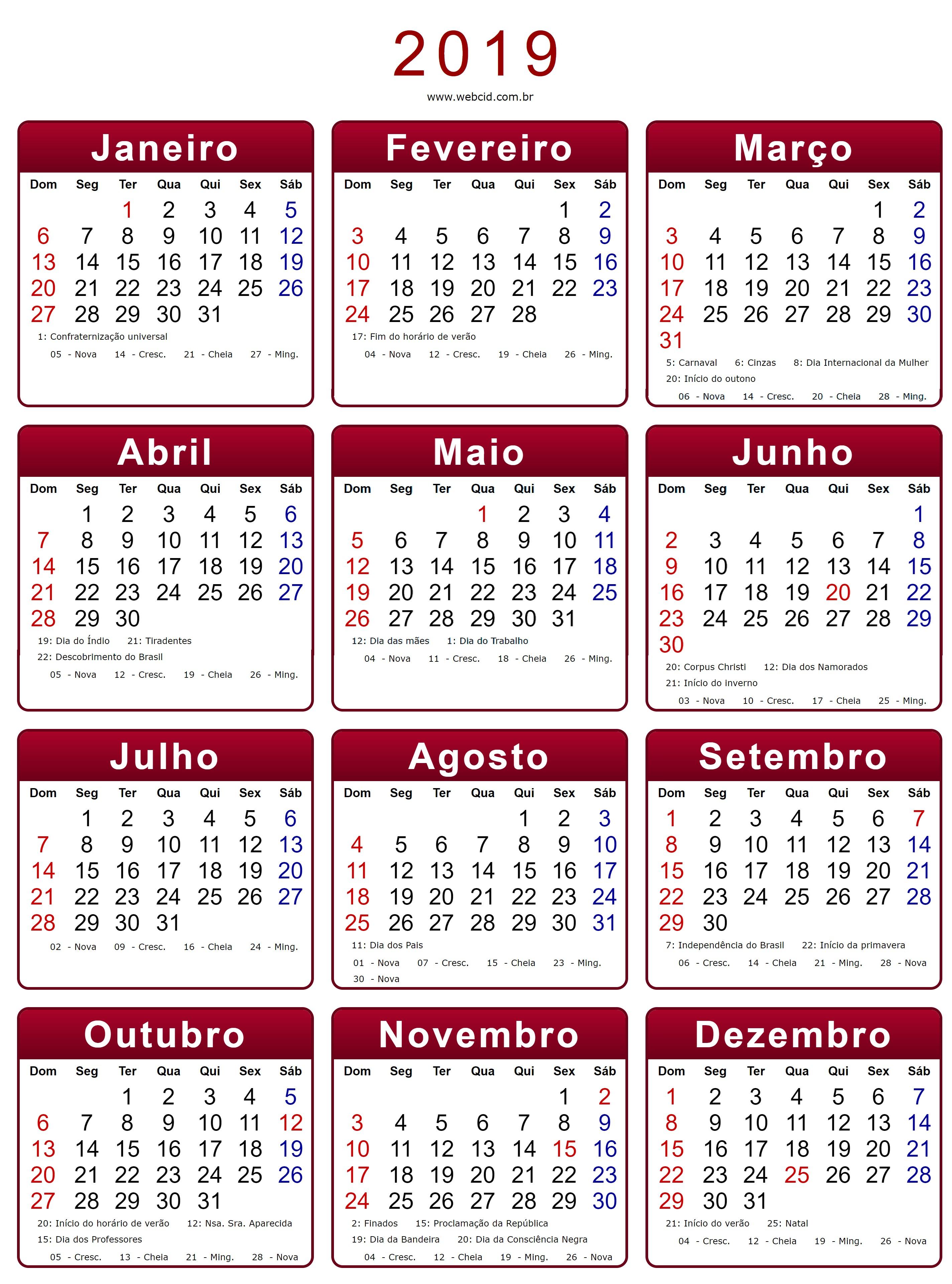 calendario 2019 vermelho retrato