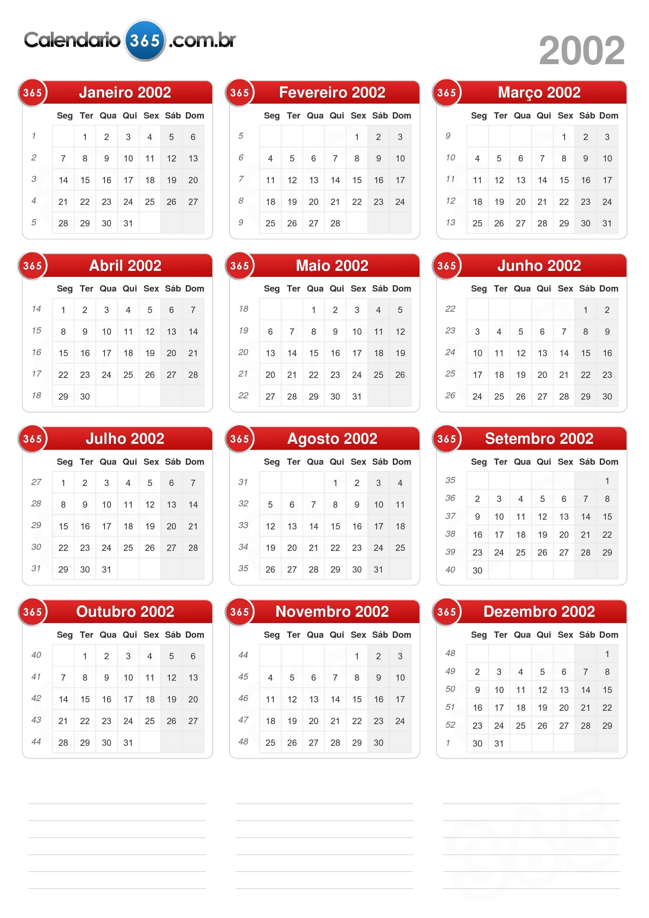 Calendário 2002 formato de retrato v2