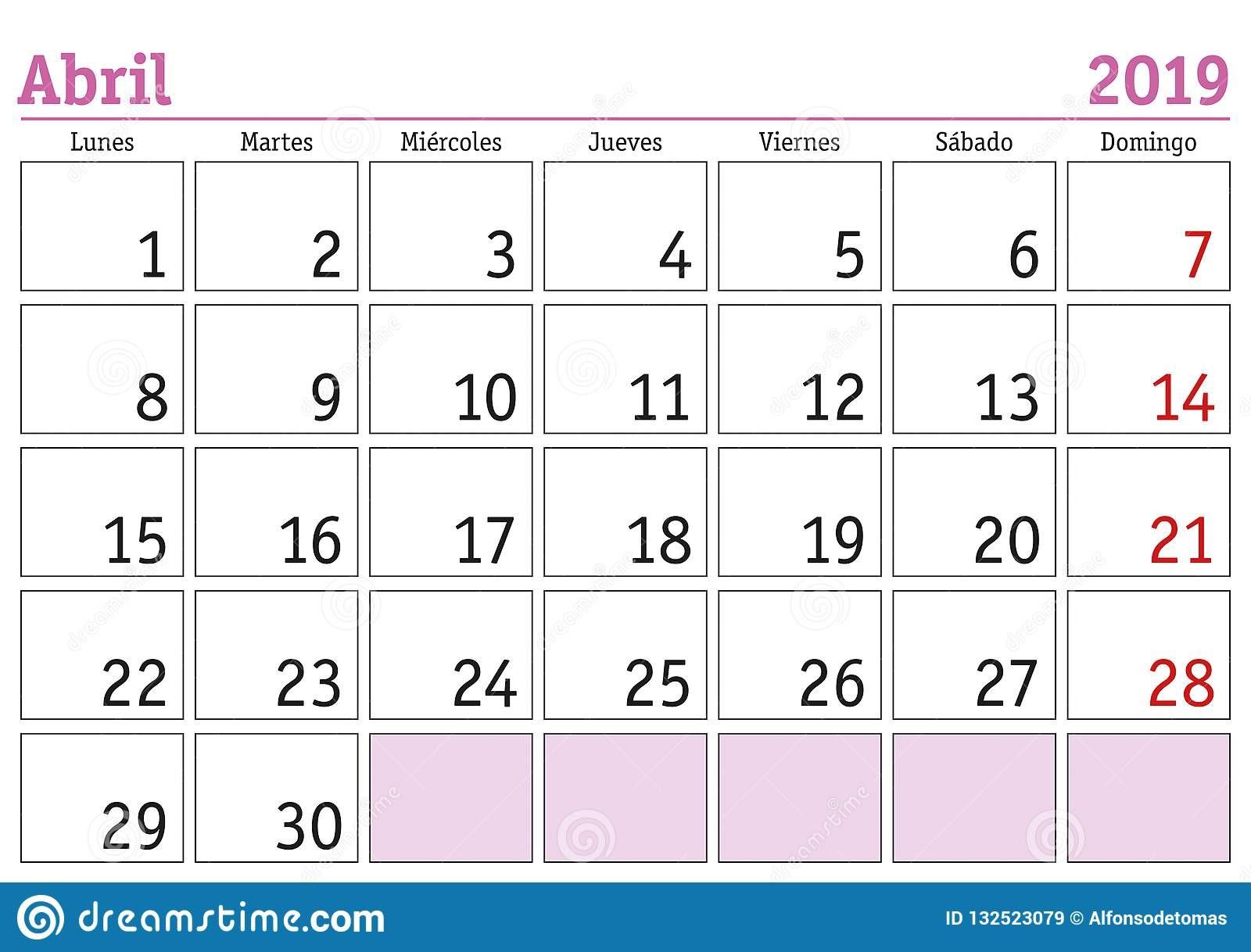 Calendario Abril 2019 Para Imprimir Mªs de abril em um calendário de parede do ano 2019 no espanhol abril 2019 calendario 2019
