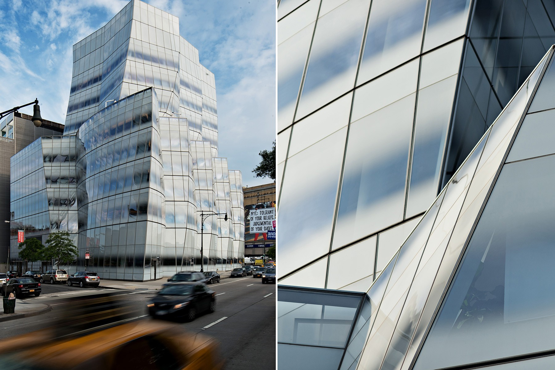 architecture photography Frank Gehry s InterActiveCorp s headquarters IAC building at the blue hour Chelsea Manhattan New York City NYC