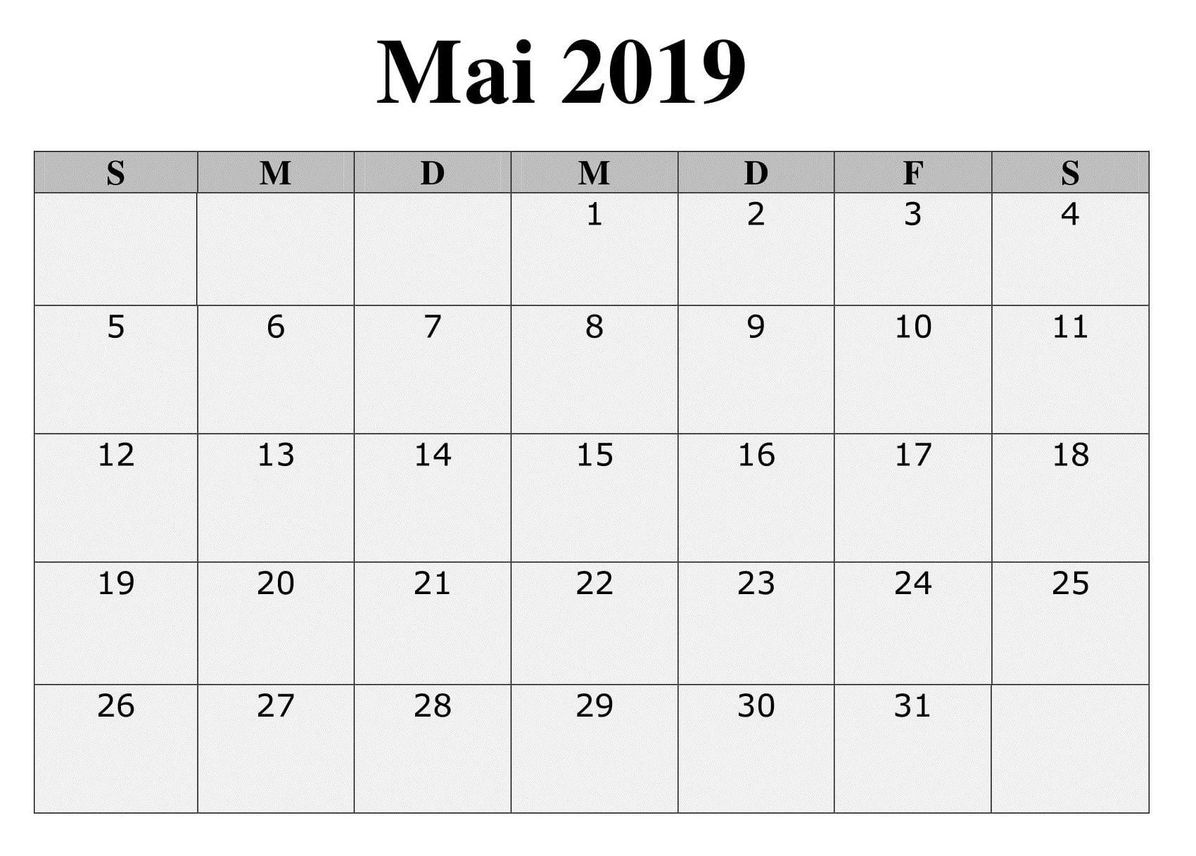 2019 Kalender Mai Zum Ausdrucken Planer