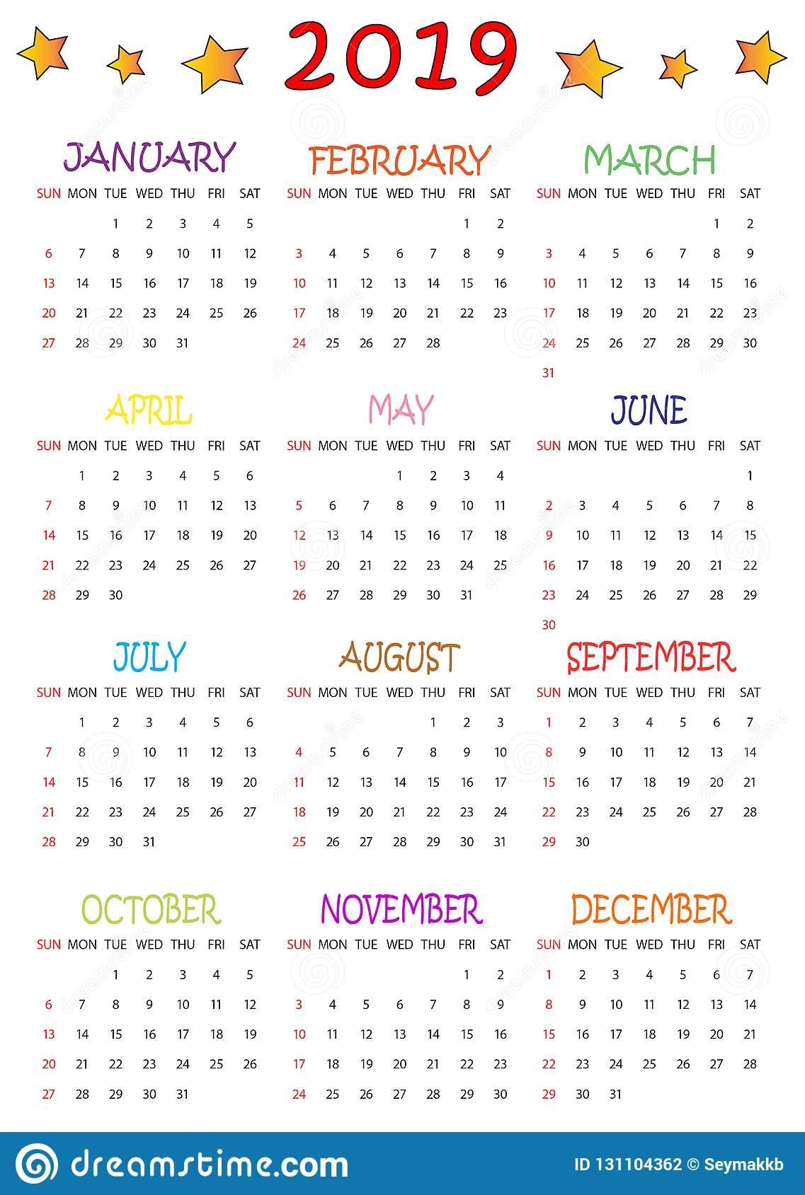 calendario coloreado para los niños