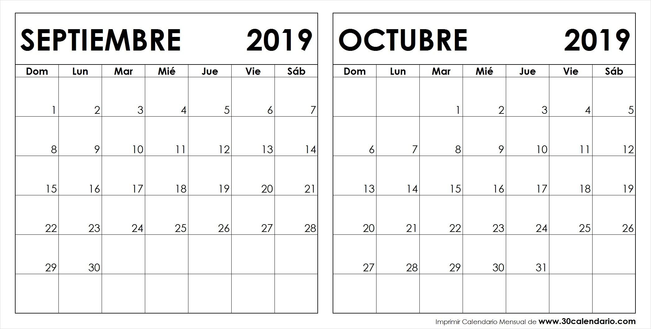 Calendario Septiembre Octubre 2019 Para Imprimir
