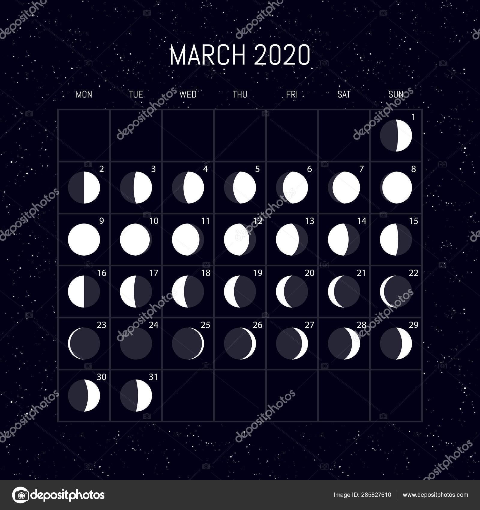 depositphotos stock illustration moon phases calendar for 2020