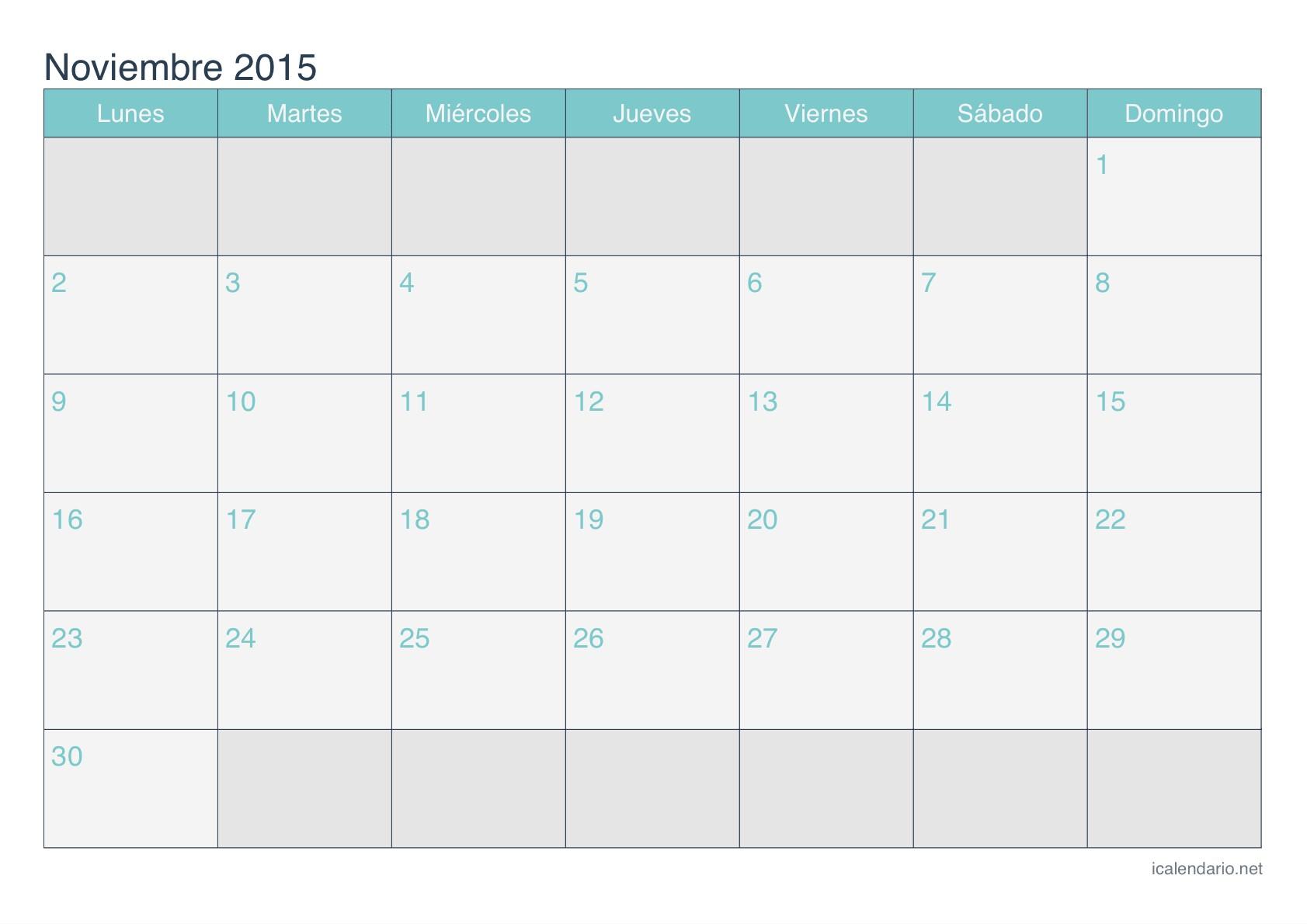 calendario noviembre 2015 turquesa