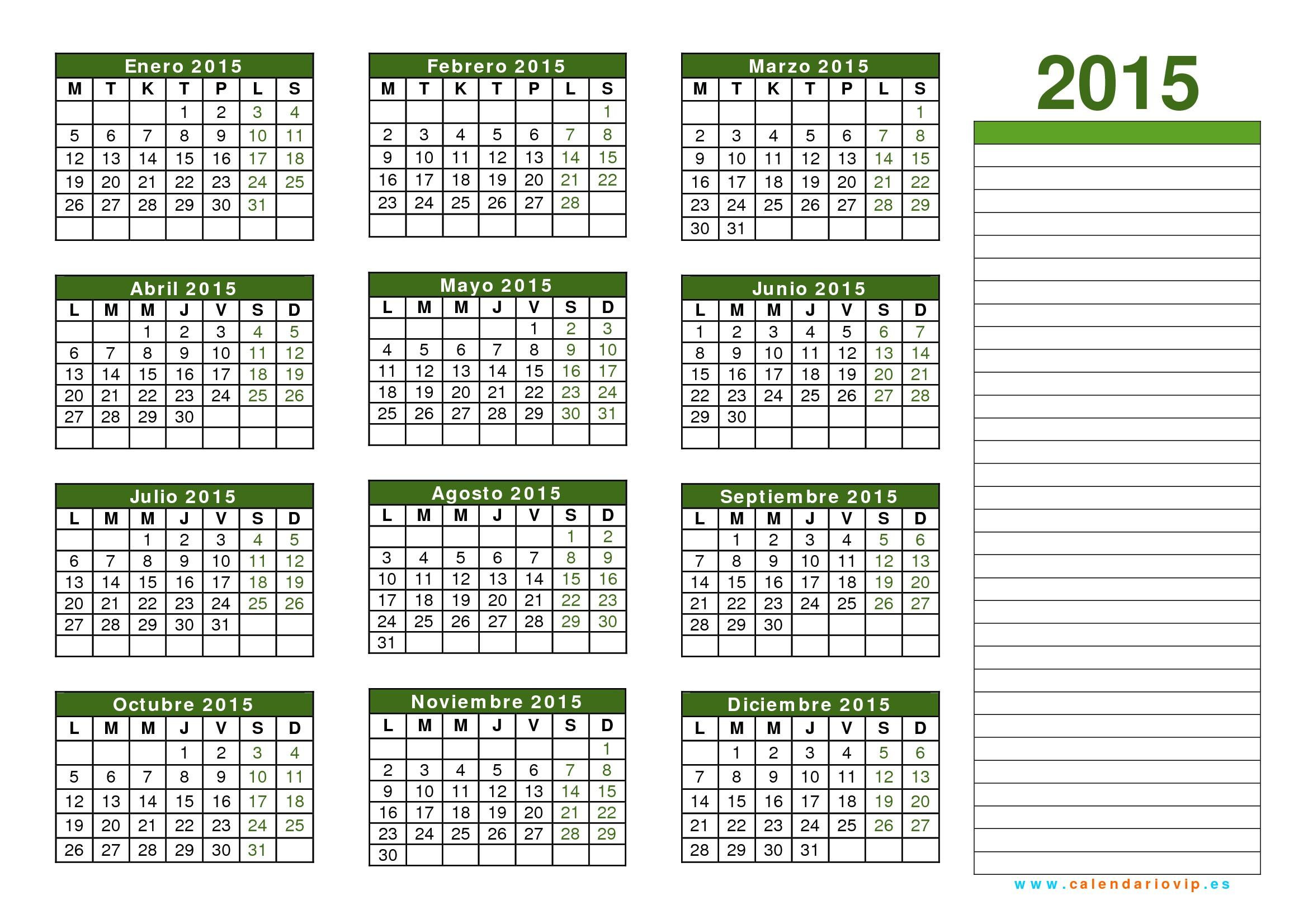 Calendario 2015 2