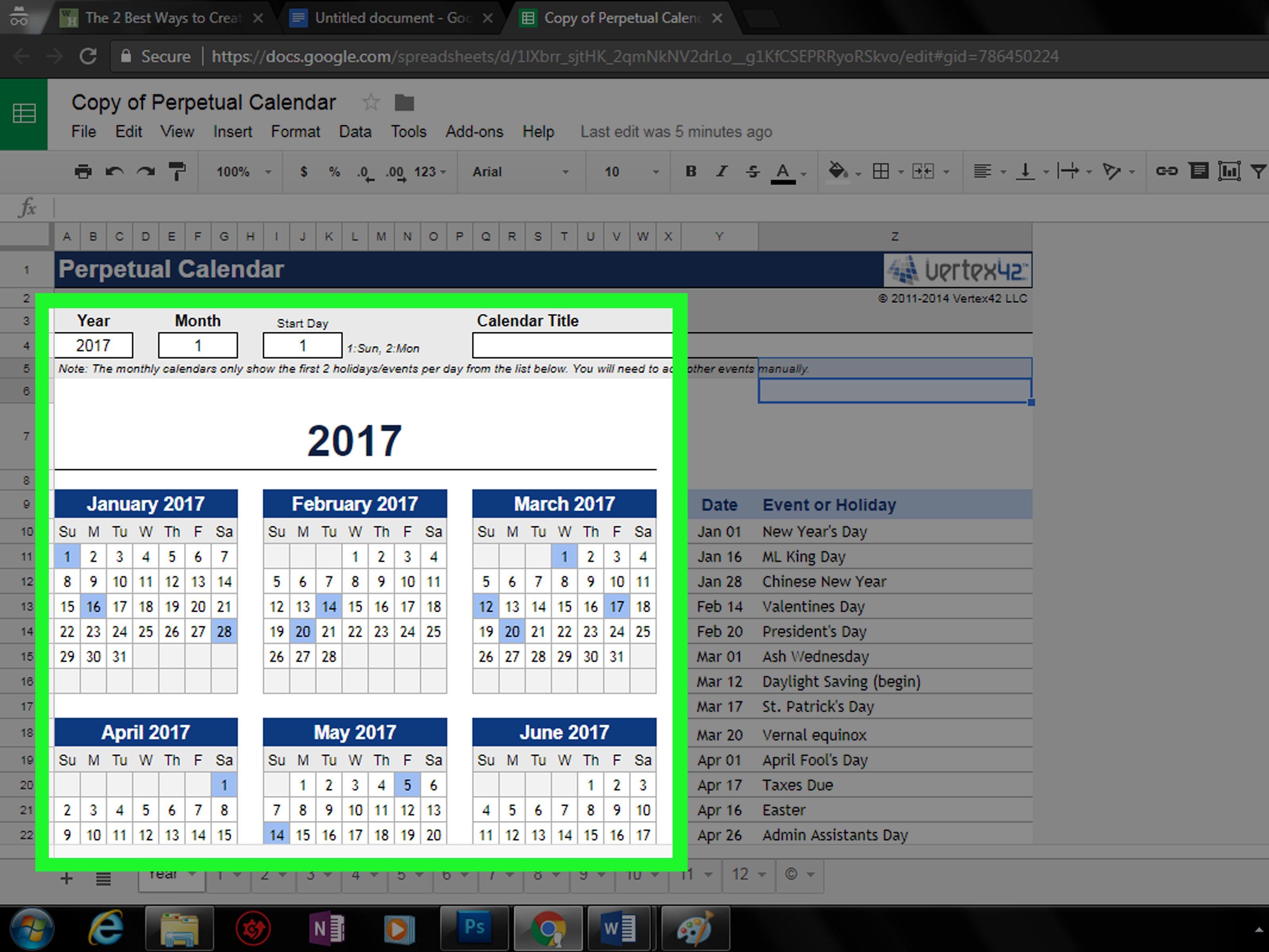Create a Calendar in Google Docs Step 28 Version 2