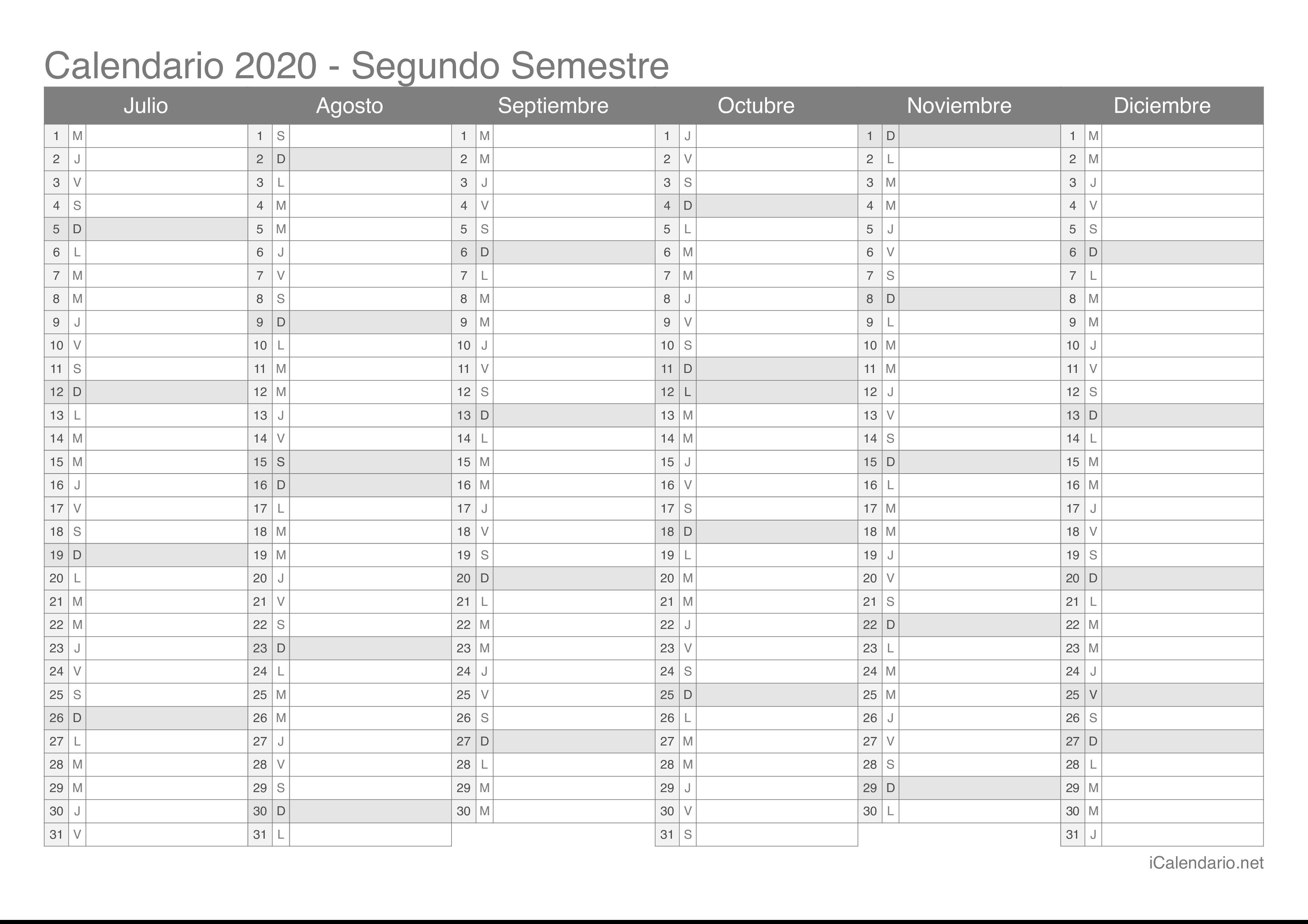 calendario 2020 semestral blanco semestre 2