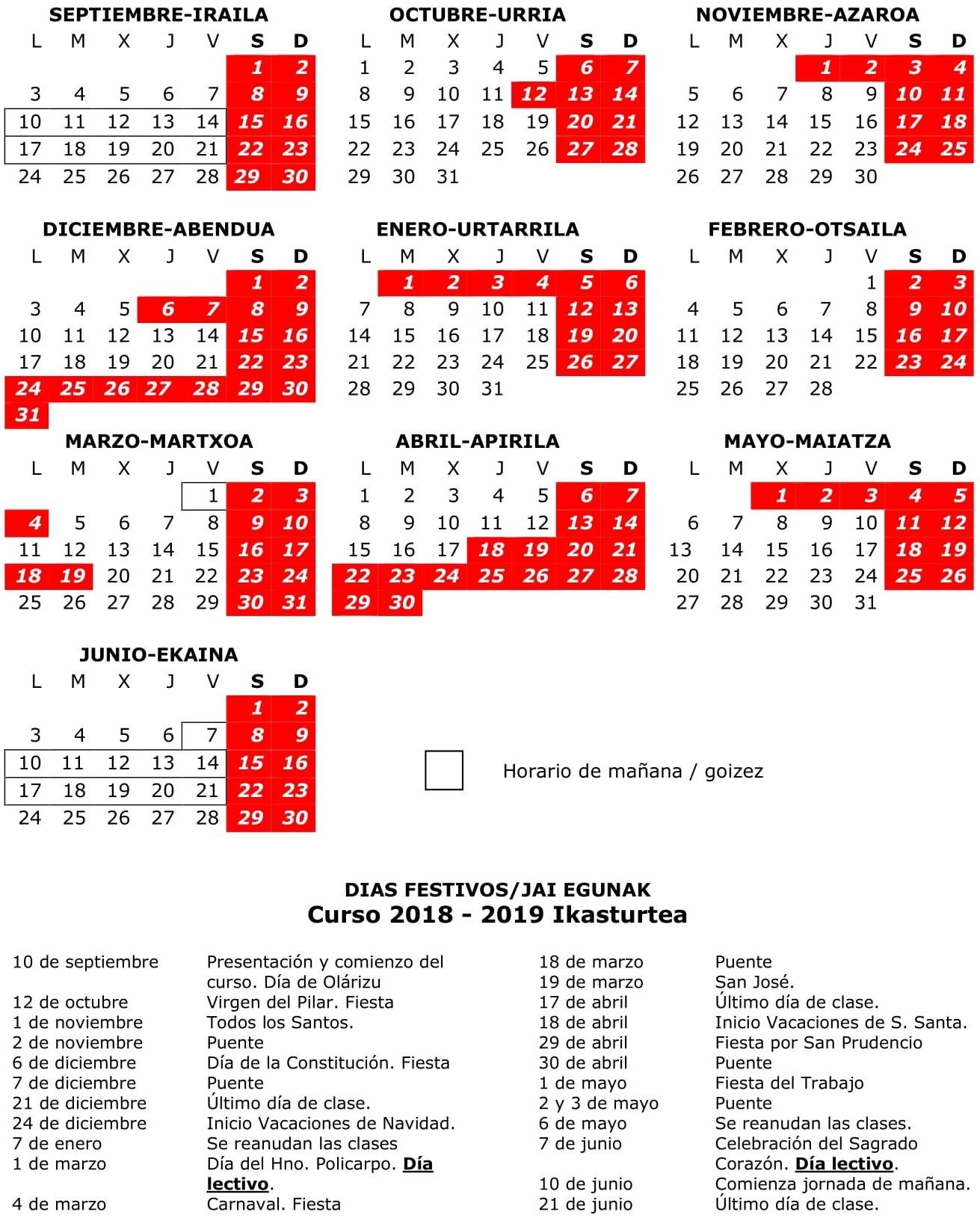 Calendario Escolar 2018 2019ko Eskolaren egutegia 1