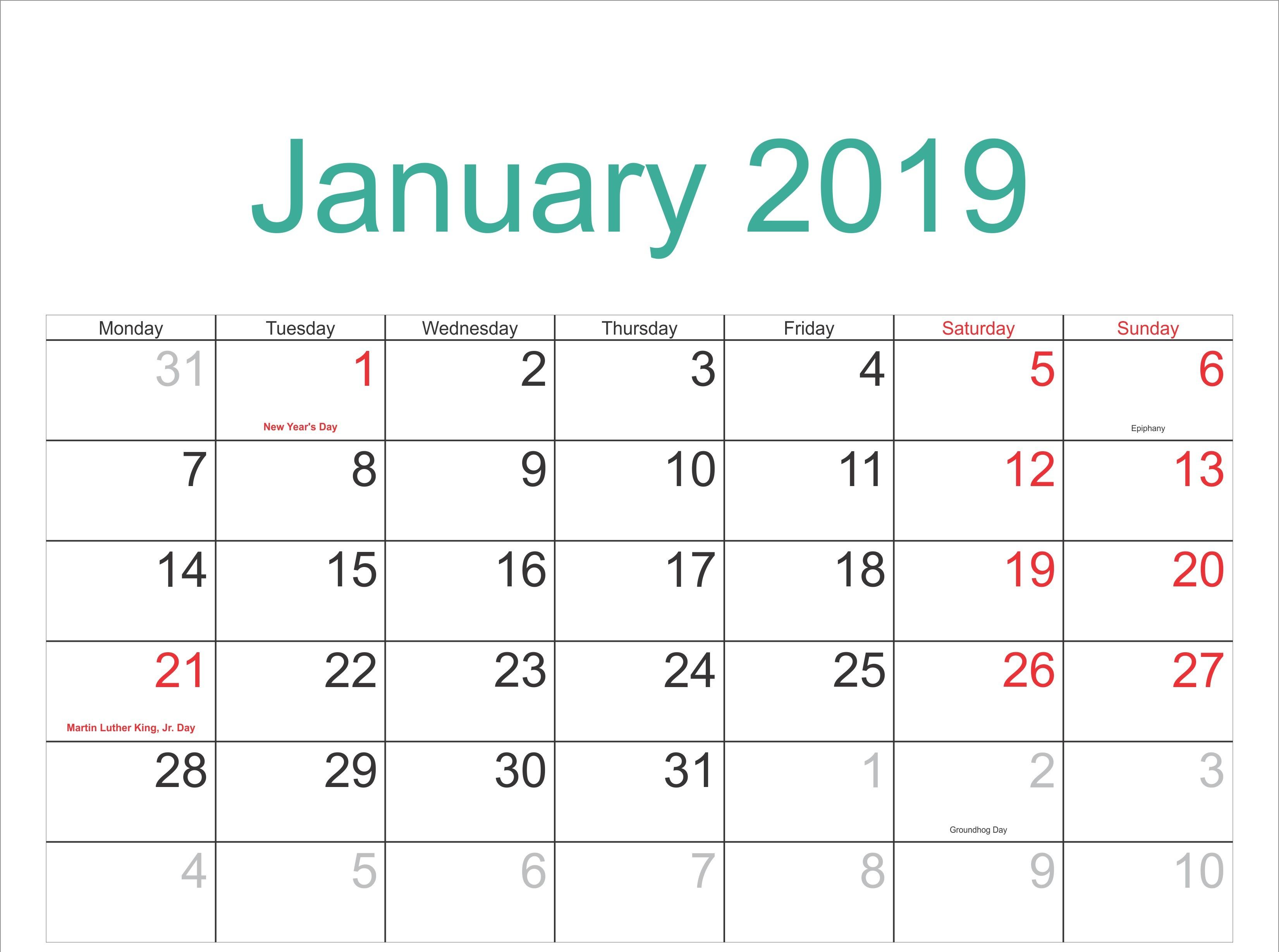 January Calendar 2019 With Holidays january2019 January