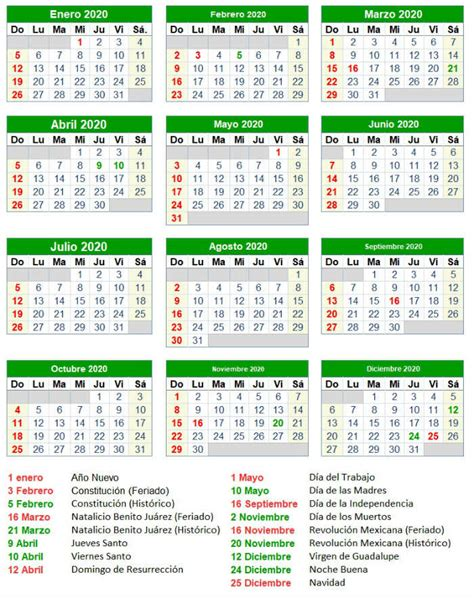 Calendario 2020 Dias Festivos Mexico Calendario 2019