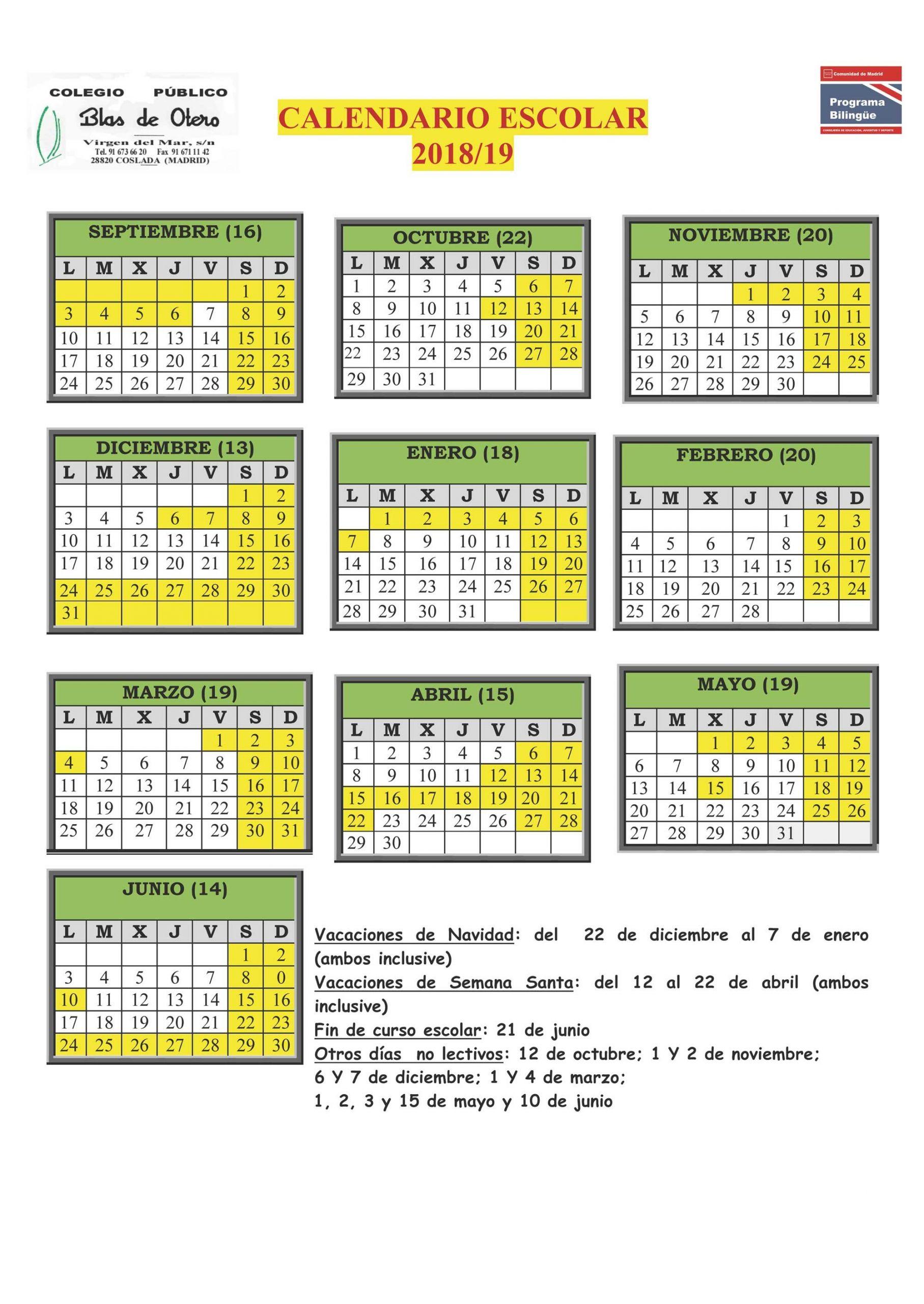 calendario 2018 19