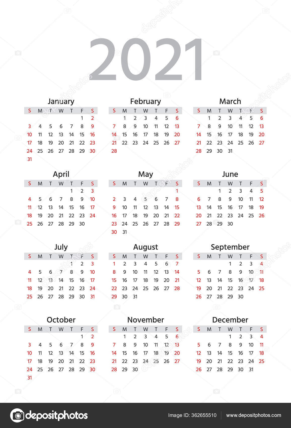 depositphotos stock illustration 2021 calendar week starts sunday