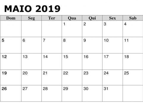 Calendario 2021 Pdf Más Populares 2019 Calendário Maio Pdf