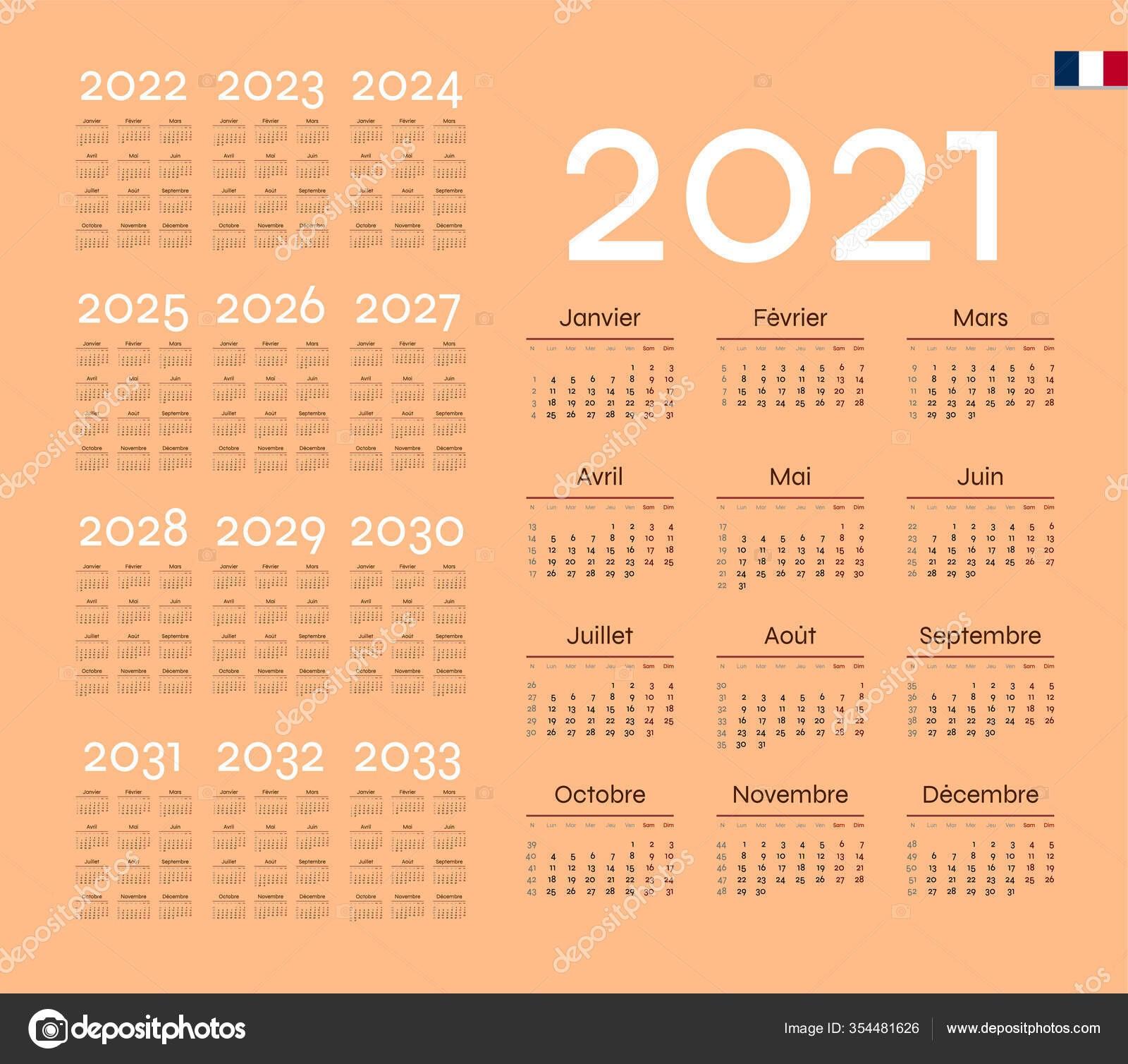 depositphotos stock illustration french calendar 2021 week starts