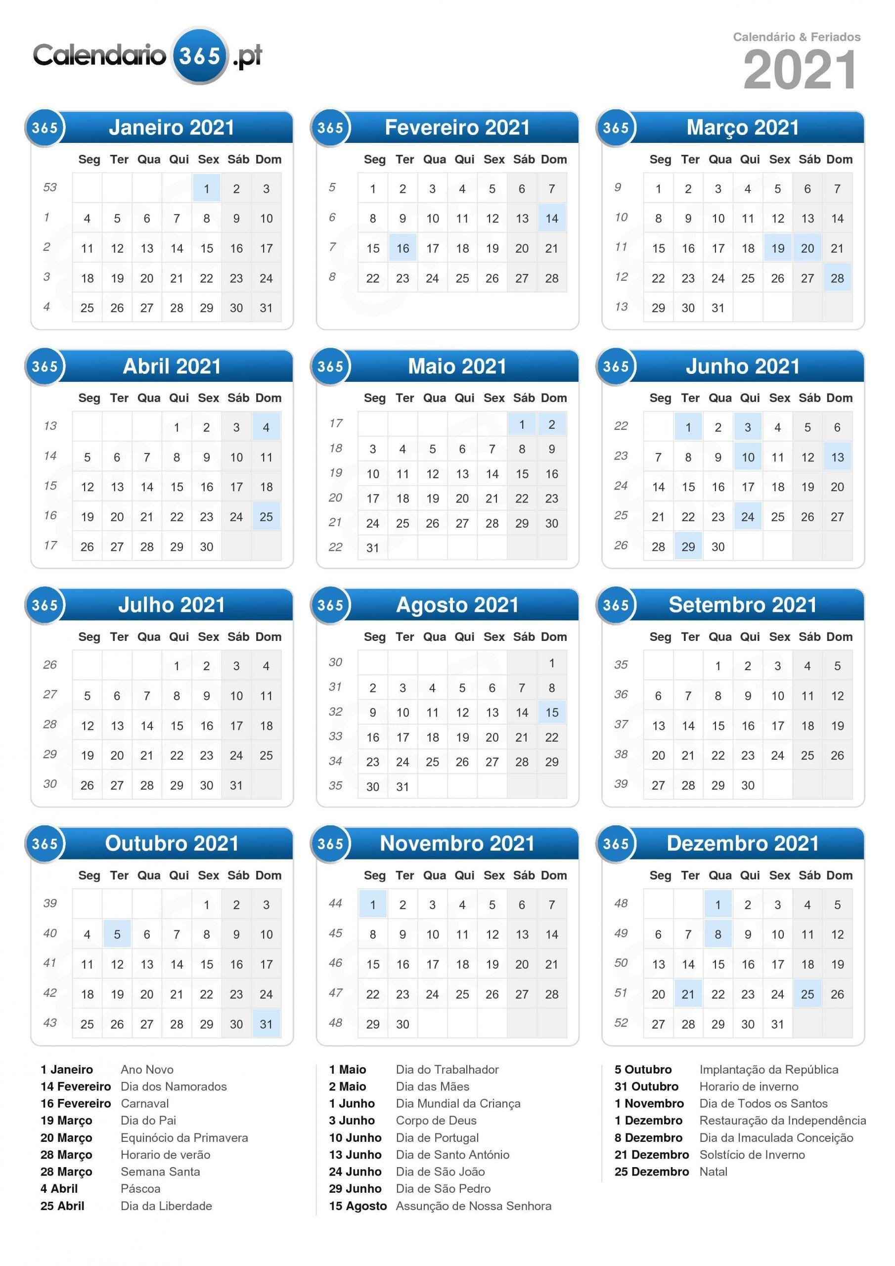 calendário 2021 formato de retrato