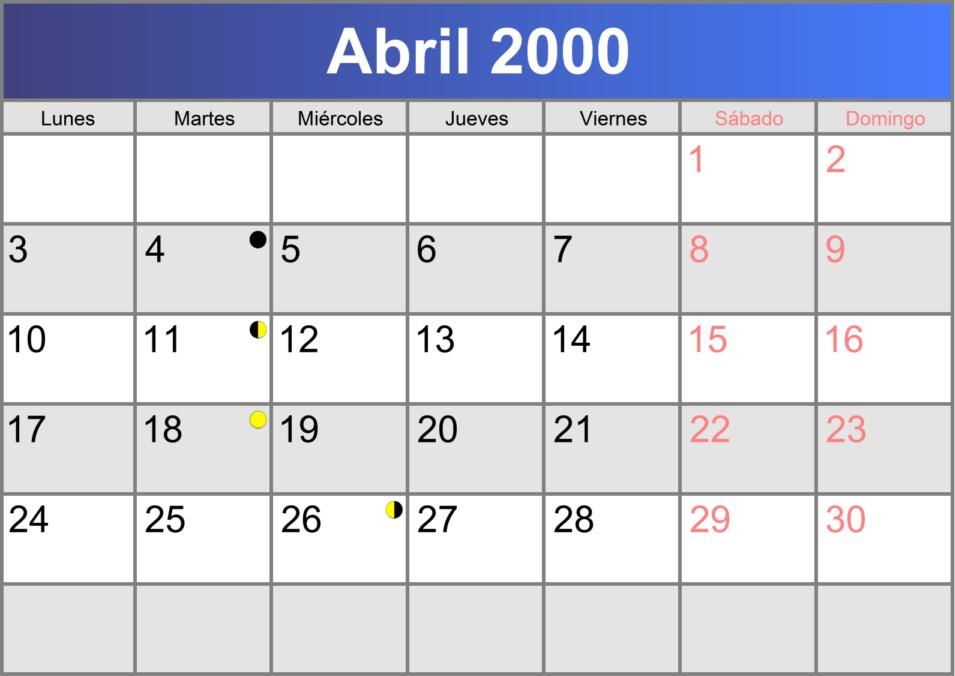calendario abril 2000