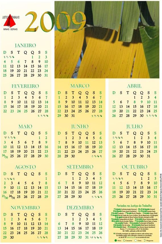 Calendario 2009 Mejores Y Más Novedosos Calendário 2009 — Trt Mg