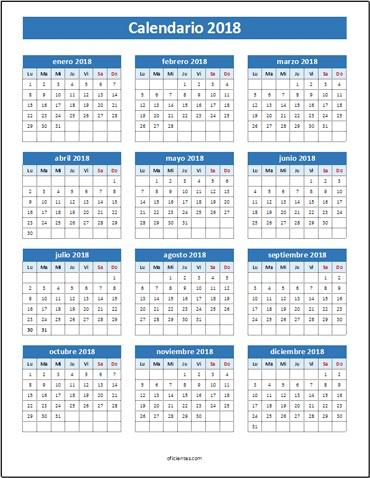 calendario 2018 excel editar imprimir