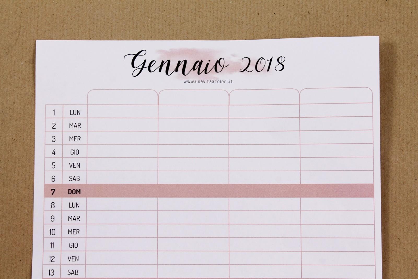 calendario familiare 2018 scaricare